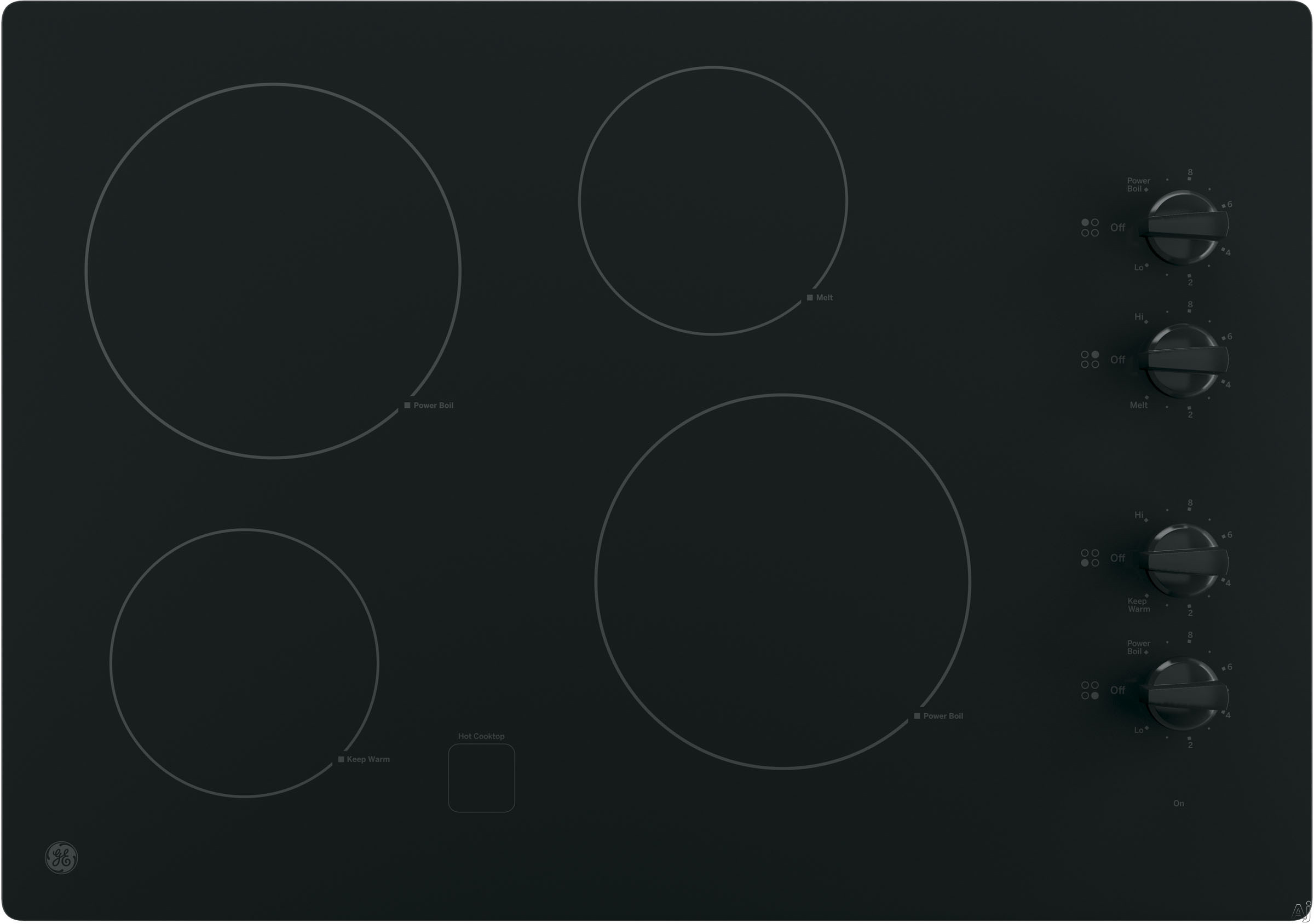GE JP3030DJBB 30 Inch Smoothtop Electric Cooktop with 4 Radiant Elements, Knob Controls, Keep Warm Setting, Melt Setting, ADA Compliant and GE Fits! Guarantee: Black