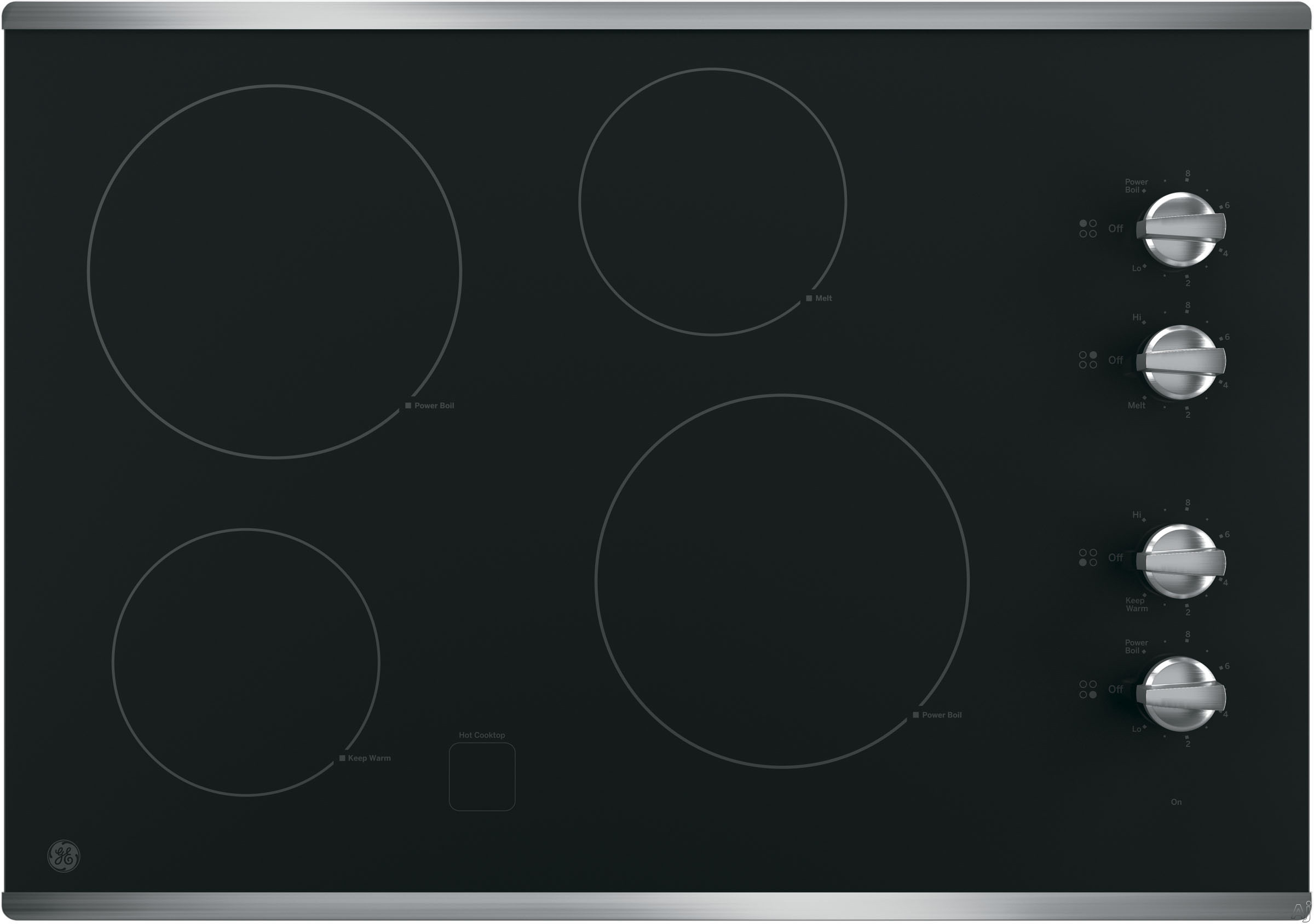 GE JP3030SJSS 30 Inch Smoothtop Electric Cooktop with 4 Radiant Elements, Knob Controls, Keep Warm Setting, Melt Setting, ADA Compliant and GE Fits! Guarantee: Stainless Steel