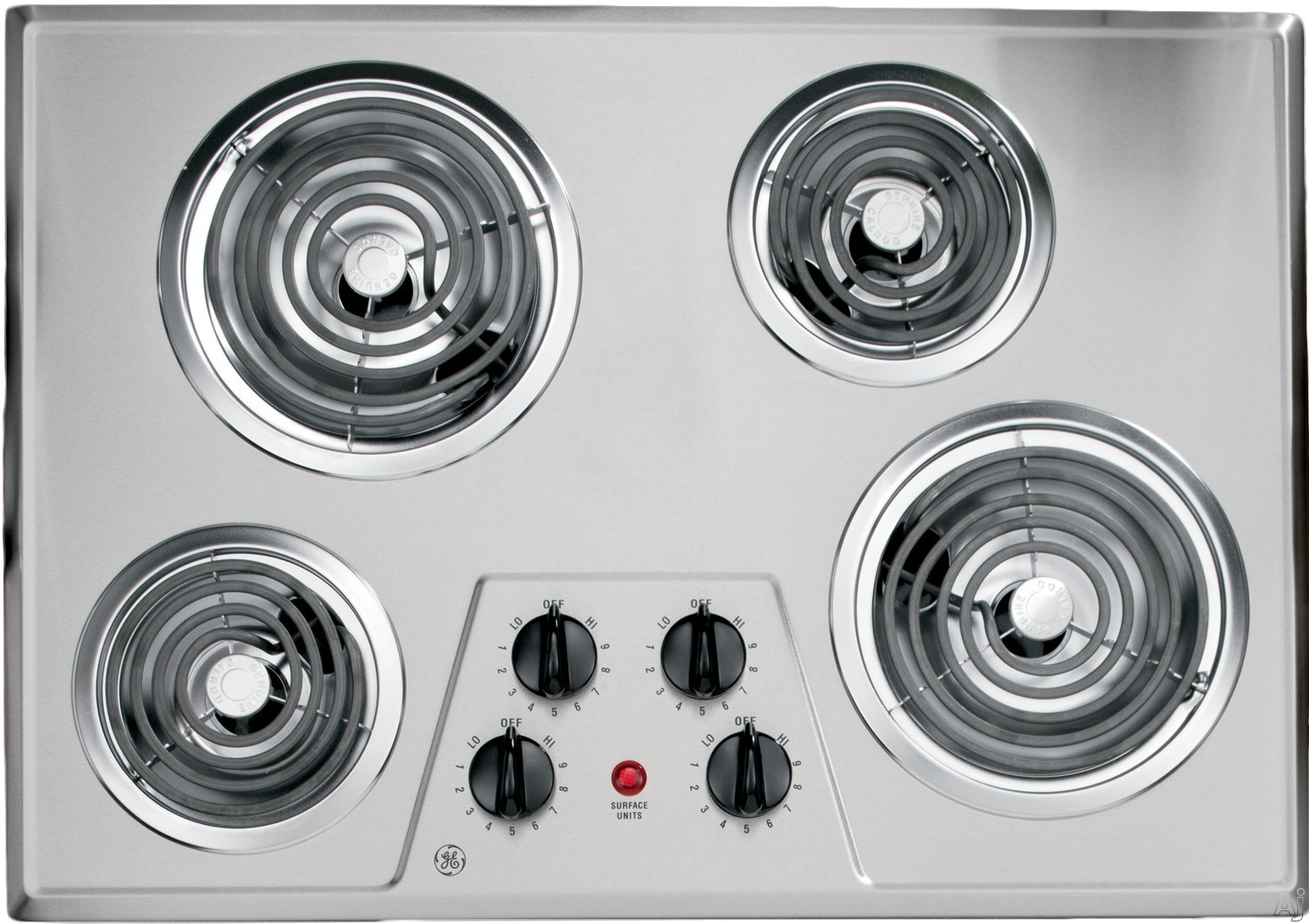 GE JP328 30 Inch Electric Cooktop with 4 Coil Elements, Removable Drip Bowls, Upfront Controls, GE Fits! Guarantee and ADA Compliant