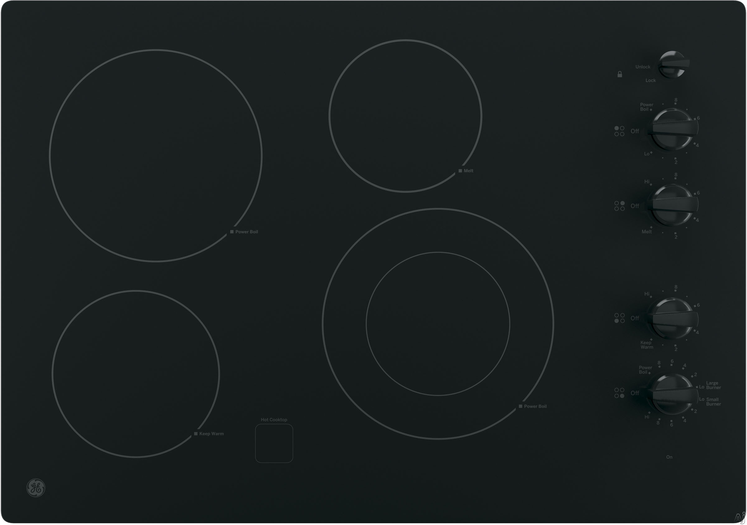 GE JP3530DJBB 30 Inch Smoothtop Electric Cooktop with 4 Radiant Elements, Front-Right Dual-Size Power Burner, Knob Controls, Keep Warm Setting, Melt Setting, GE Fits! Guarantee and ADA Compliant: Blac