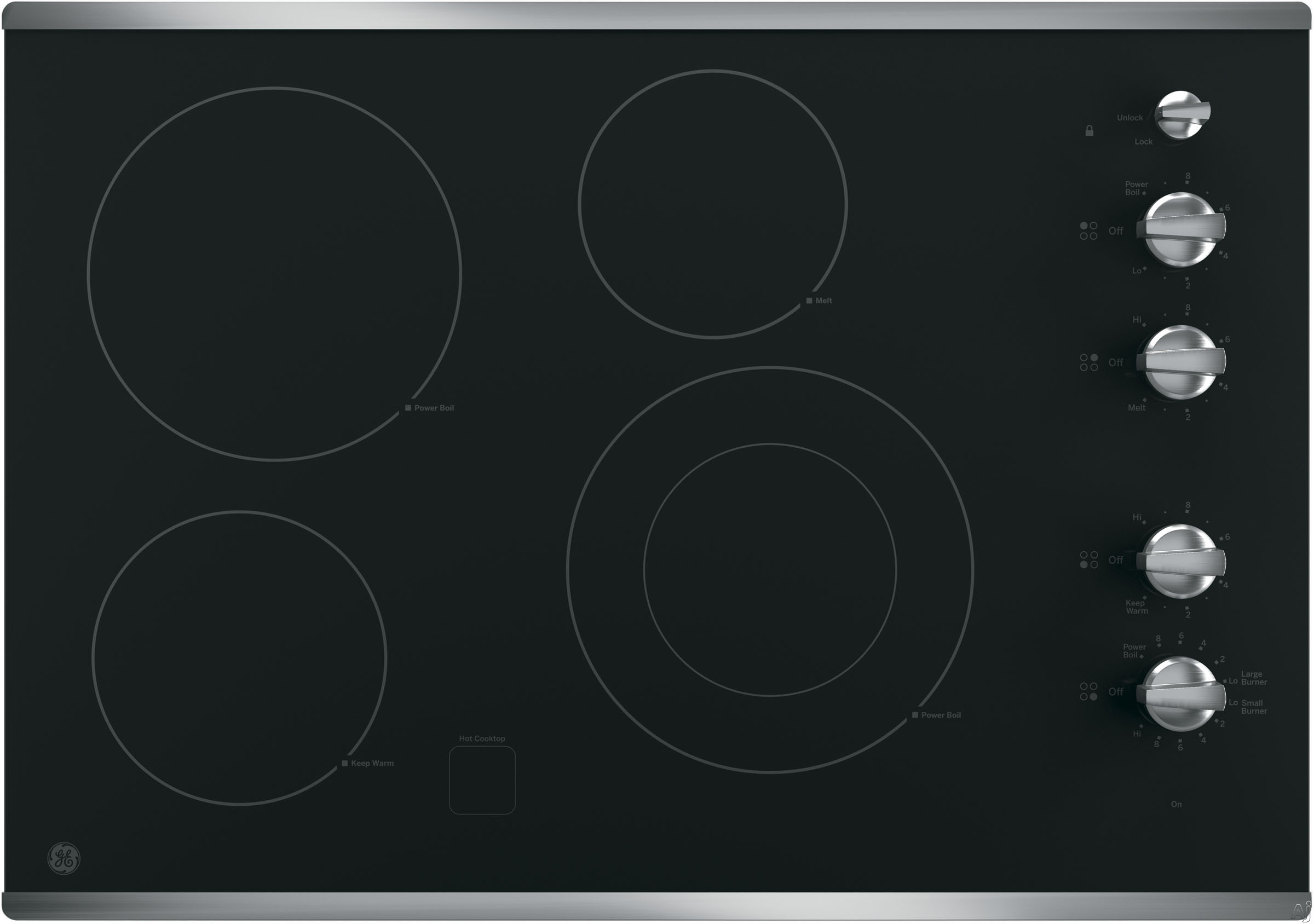 GE JP3530SJSS 30 Inch Smoothtop Electric Cooktop with 4 Radiant Elements, Front-Right Dual-Size Power Burner, Knob Controls, Keep Warm Setting, Melt Setting, GE Fits! Guarantee and ADA Compliant: Stai