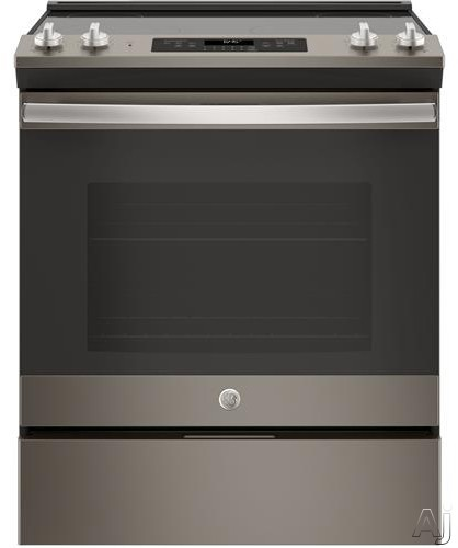 GE JS645SLX 30 Inch Slide-In Electric Range with Power Boil, Self-Clean, Storage Drawer, Dual-Element Bake, Finished Sides, 5.3 cu. ft. Capacity, 4 Heating Elements, ADA Compliant and Star-K Certified