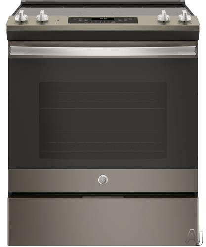 GE JS660ELES 30 Inch Slide-In Electric Range with Dual-element Bake, Power Boil, Warming Zone, Storage Drawer, Self-clean Oven, 5.3 cu. ft. Capacity, ADA Compliant and Star-K: Slate