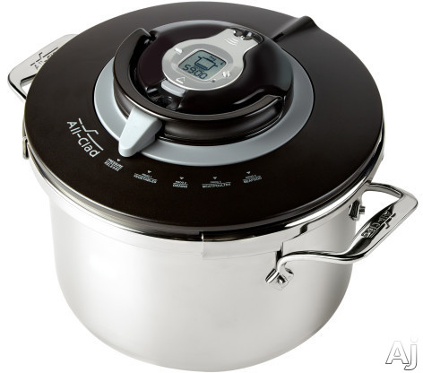 All Clad P4231442 PC8 Precision Pressure Cooker with 4 Presets, Smart Timer, Induction Compatible, Stainless Steel Base, Dishwasher Safe Pot, Steaming Basket and Recipe Book