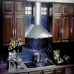 Best KEX27342SS Wall Mount Chimney Hood with Multiple Exterior/In-Line Blower Options, 4-Speed Push Button Control, 2 Halogen Lamps and Dishwasher Safe Mesh Filters: 42-Inches