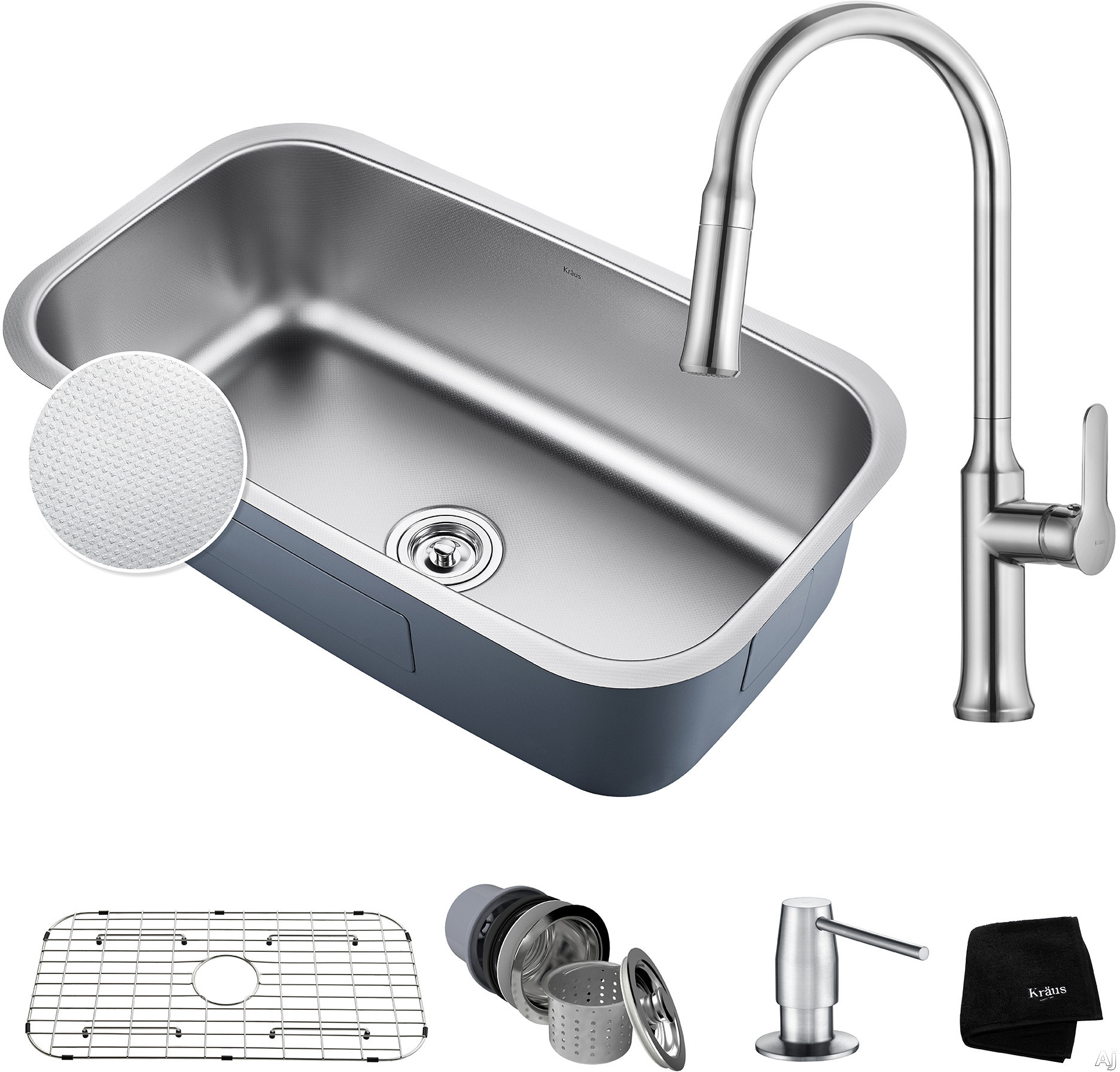 "Kraus Outlast Series KBU14E163042CH 31-1/2 Inch Kitchen Sink and Faucet Combo with Outlast MicroShieldâ""¢, NoiseDefendâ""¢ and 16-Gauge Stainless Steel: Chrome"