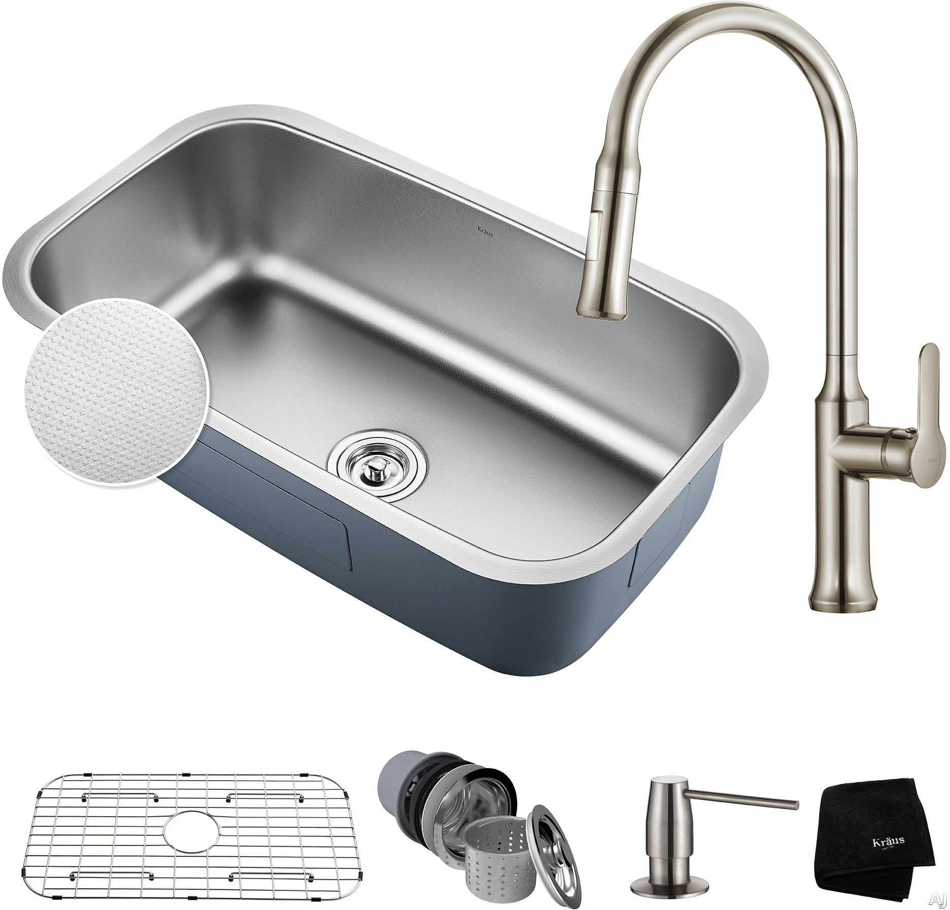 "Kraus Outlast Series KBU14E163042SS 31-1/2 Inch Kitchen Sink and Faucet Combo with Outlast MicroShieldâ""¢, NoiseDefendâ""¢ and 16-Gauge Stainless Steel: Stainless Steel"