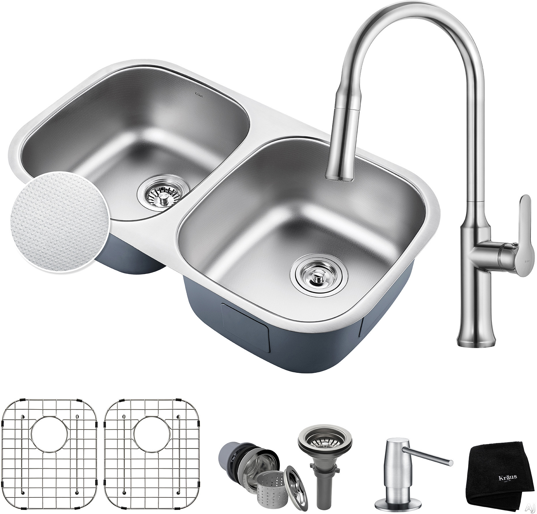 "Kraus Outlast Series KBU22E163042CH 32 Inch Double Bowl Kitchen Sink and Faucet Combo with Outlast MicroShieldâ""¢, NoiseDefendâ""¢ and 16-Gauge Stainless Steel: Chrome"