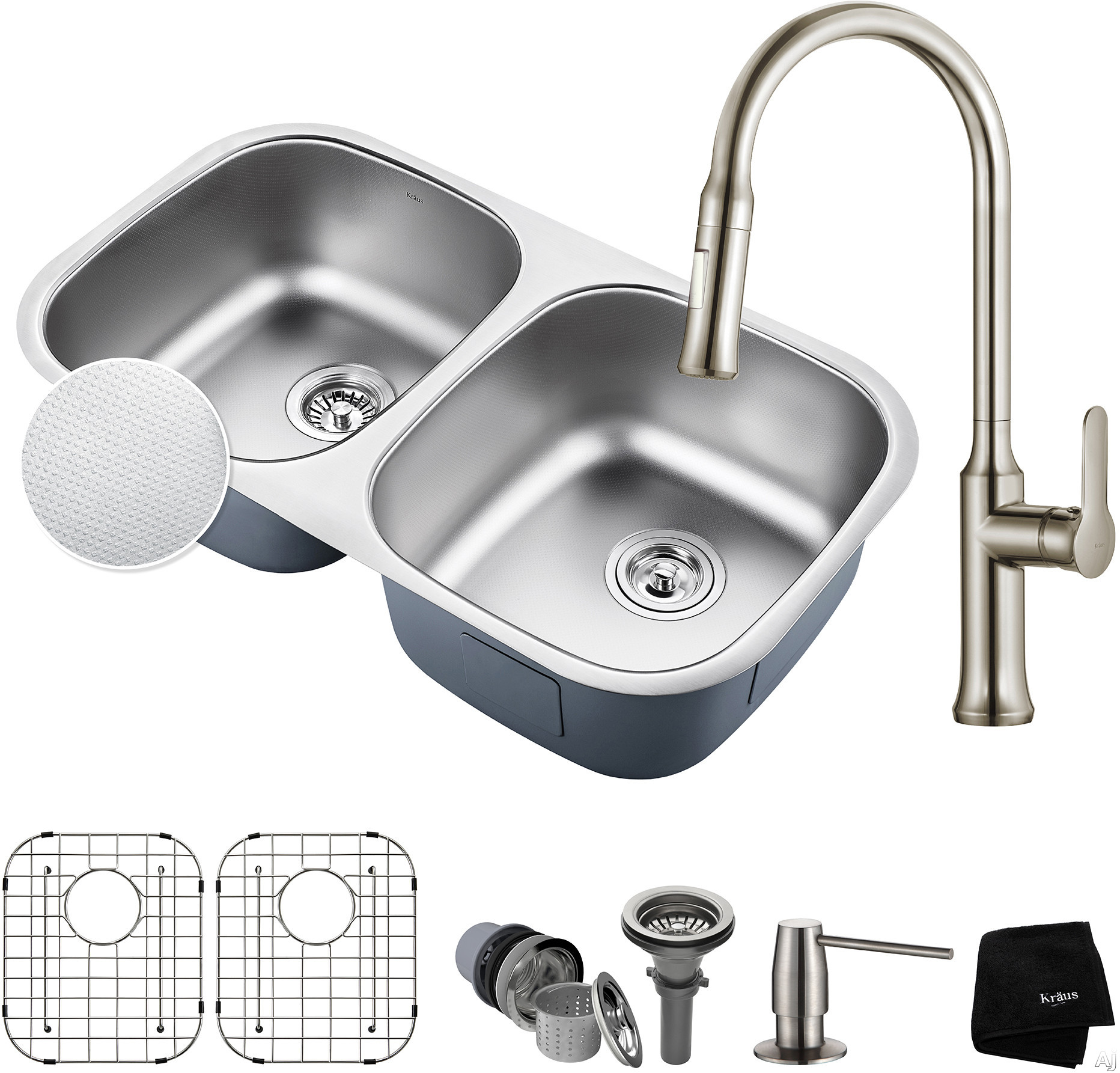 "Kraus Outlast Series KBU22E163042SS 32 Inch Double Bowl Kitchen Sink and Faucet Combo with Outlast MicroShieldâ""¢, NoiseDefendâ""¢ and 16-Gauge Stainless Steel: Stainless Steel"