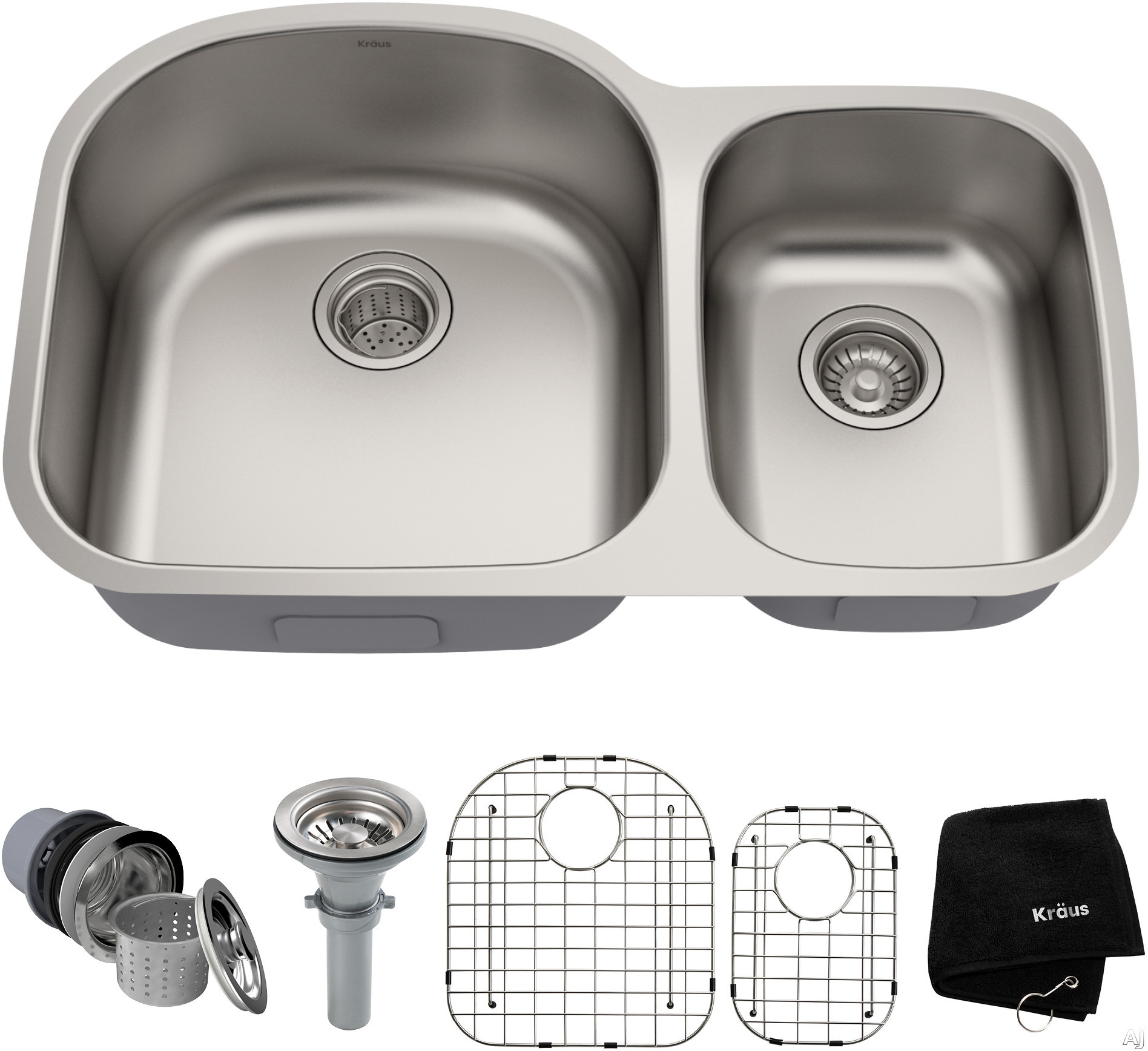 Kraus KBU23 32 Inch Undermount 60/40 Double Bowl Stainless Steel Kitchen Sink with 18-Gauge, Rear-Set Drain Opening and Stone Guard Undercoating