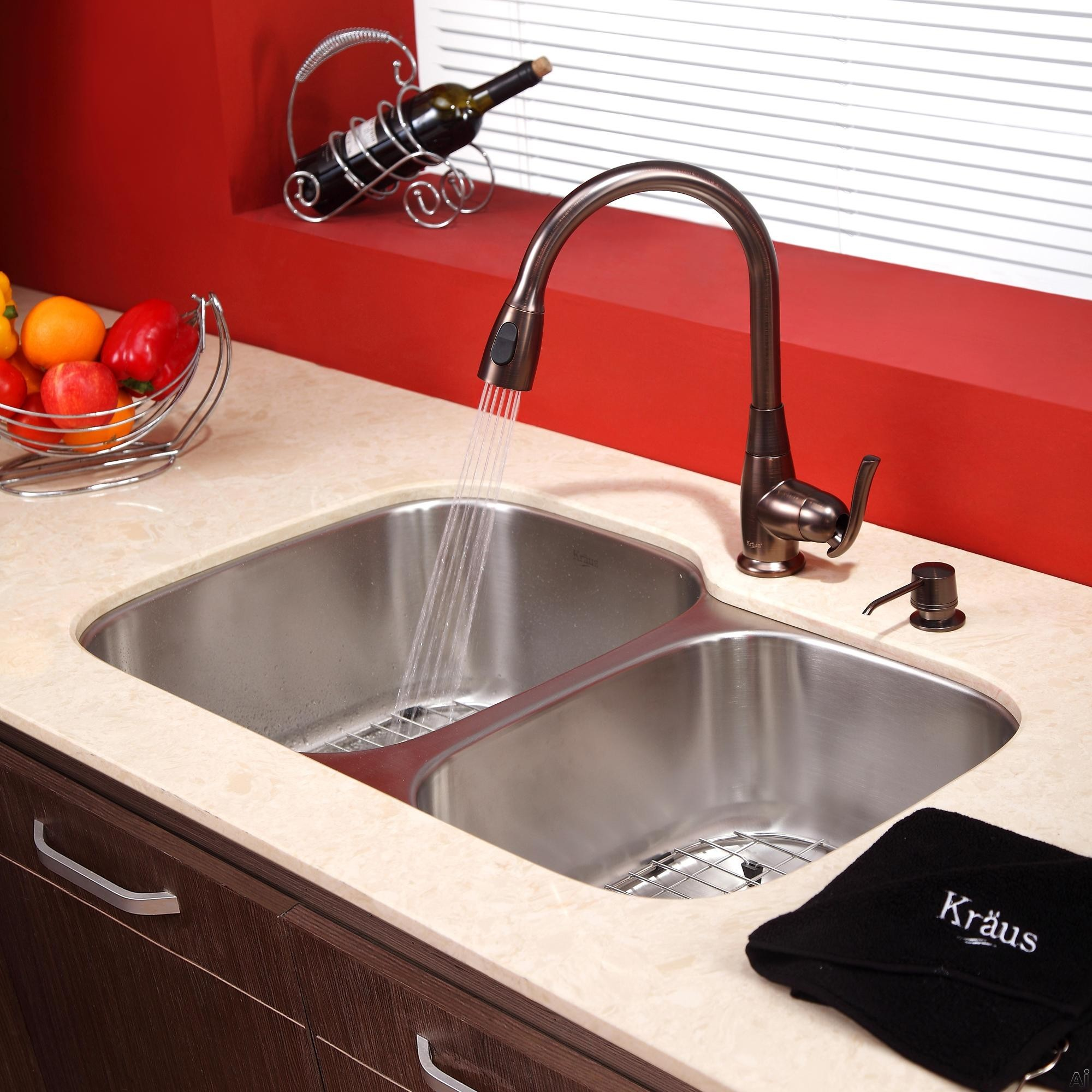 Kraus kbu24kpf2230ksd30orb 32 undermount double bowl for Oiled bronze faucet with stainless steel sink
