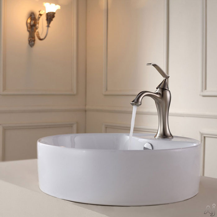 Kraus Ventus Series CKCV14215001 18-1/2 Inch White Round Ceramic Sink with Ventus Basin Faucet, 5 1/2 Inch Bowl Depth, Stain Resistant Surface, Pop-up Drain and Mounting Hardware Included CKCV14215001