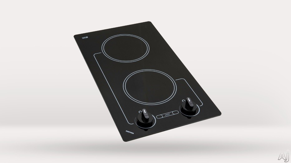 Kenyon Caribbean Series B41602 12 Inch Smoothtop Electric Cooktop with Two 6-1/2 Inch Quick-to-Heat Ribbon Elements, Push-to-Turn Controls and Smooth Clear Black Glass: 240 Volts