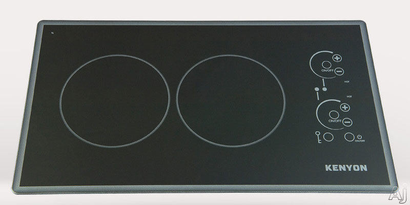 Kenyon Lite-Touch Cortez Series B41775L 21 Inch Electric Cooktop with 2x1,200 Watt Burners, Ceramic Glass With Mirror-Finish Beveled Edge Surface, Infrared Life-Touch Technology and Digital Touch Cont
