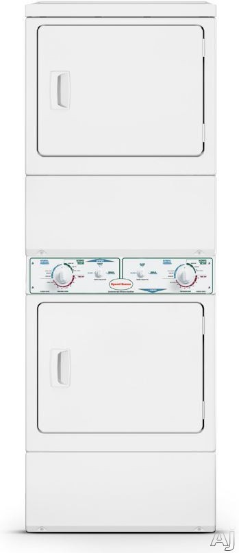 Speed Queen KES17AWF 27 Inch Commercial Electric Stacked Dryers with Axial Airflow, Advanced Moisture Sensing, ADA Compliant, Large Door Opening, Reversible Door, 220 CFM and 6 Dry Cycles