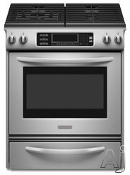 "KitchenAid Architect Series II KGSS907S 30"" Slide-In Gas Range With 4 Sealed Burners 15,000 BTU TripleTier Burner 4.1 Cu Ft Even-Heat True Convection Oven A"
