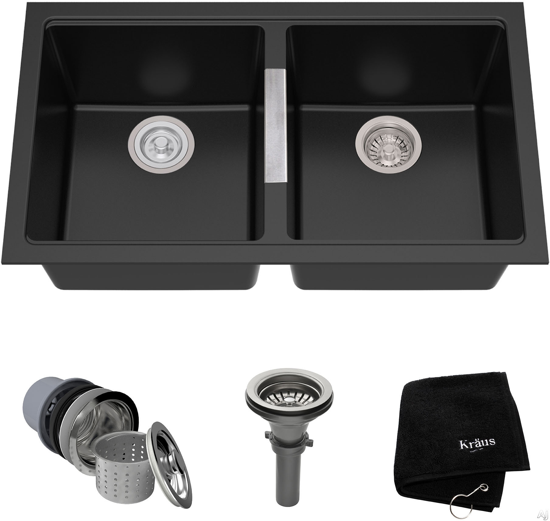 Image of Kraus Kitchen Sink Series KGU434B 33 Inch Undermount 50/50 Double Bowl Granite Kitchen Sink with 9 1/2 Inch Bowl Depths, Heat Resistant, Easy to Clean Surface and Naturally Quiet