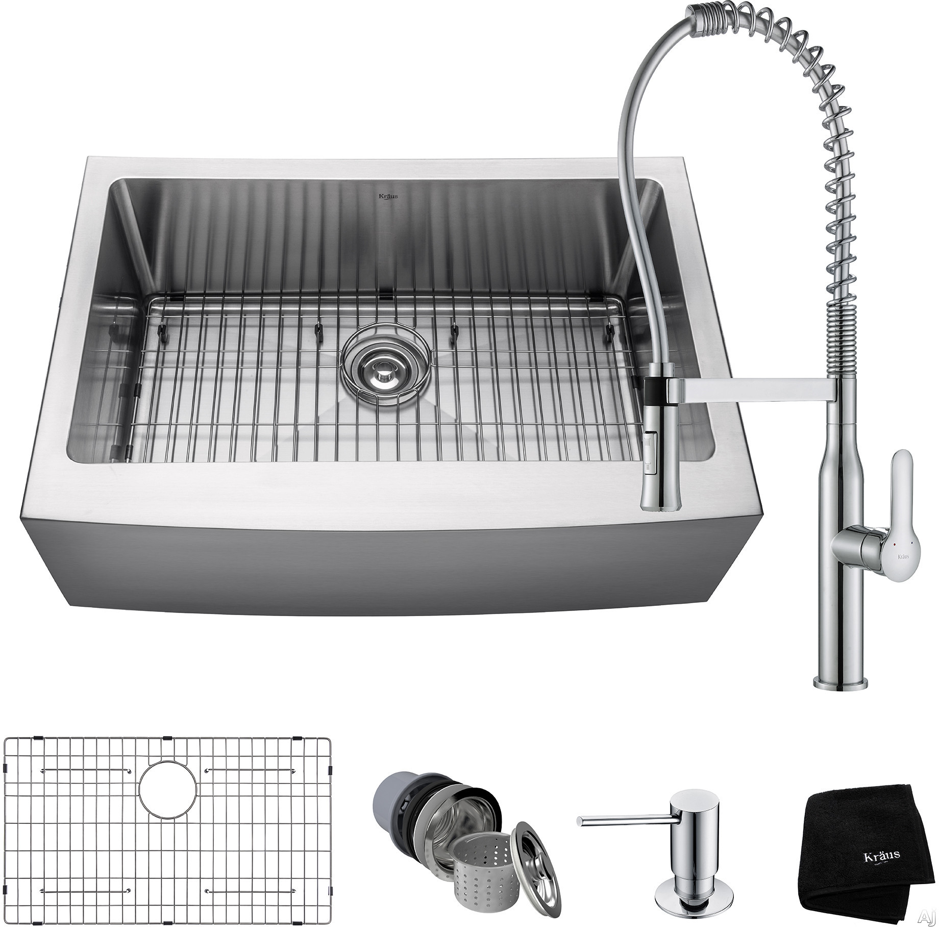 Picture of Kraus Handmade Series KHF20030165041 30 Inch Apron Front Kitchen Sink and Commercial Faucet Combo with NoiseDefend 16-Gauge Stainless Steel and Commercial Grade Finish