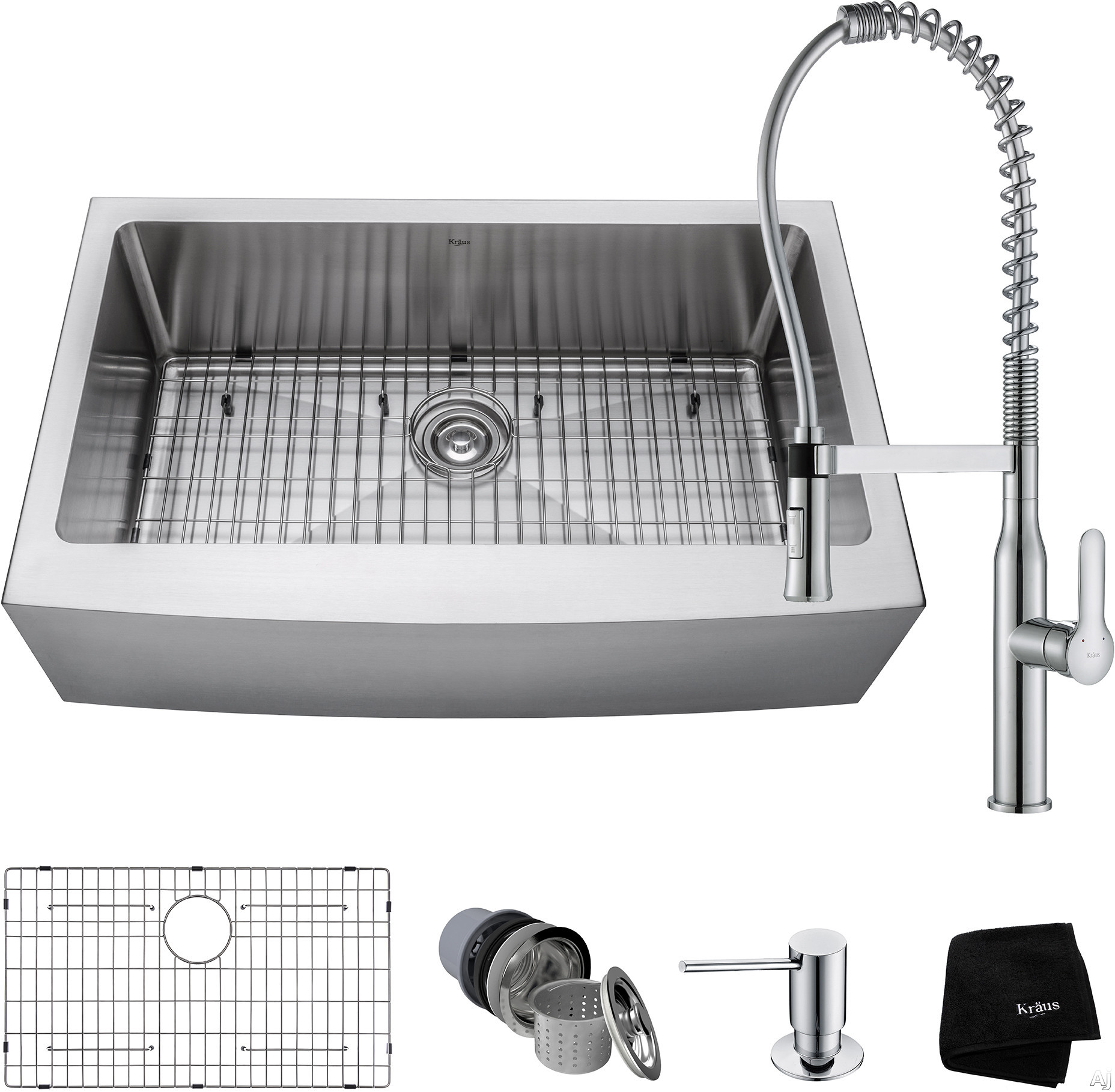"""Kraus Handmade Series KHF20033165041CH 33 Inch Apron Front Kitchen Sink and Commercial Faucet Combo with NoiseDefendâ""""¢, 16-Gauge Stainless Steel and Commercial Grade Finish: Chrome"""