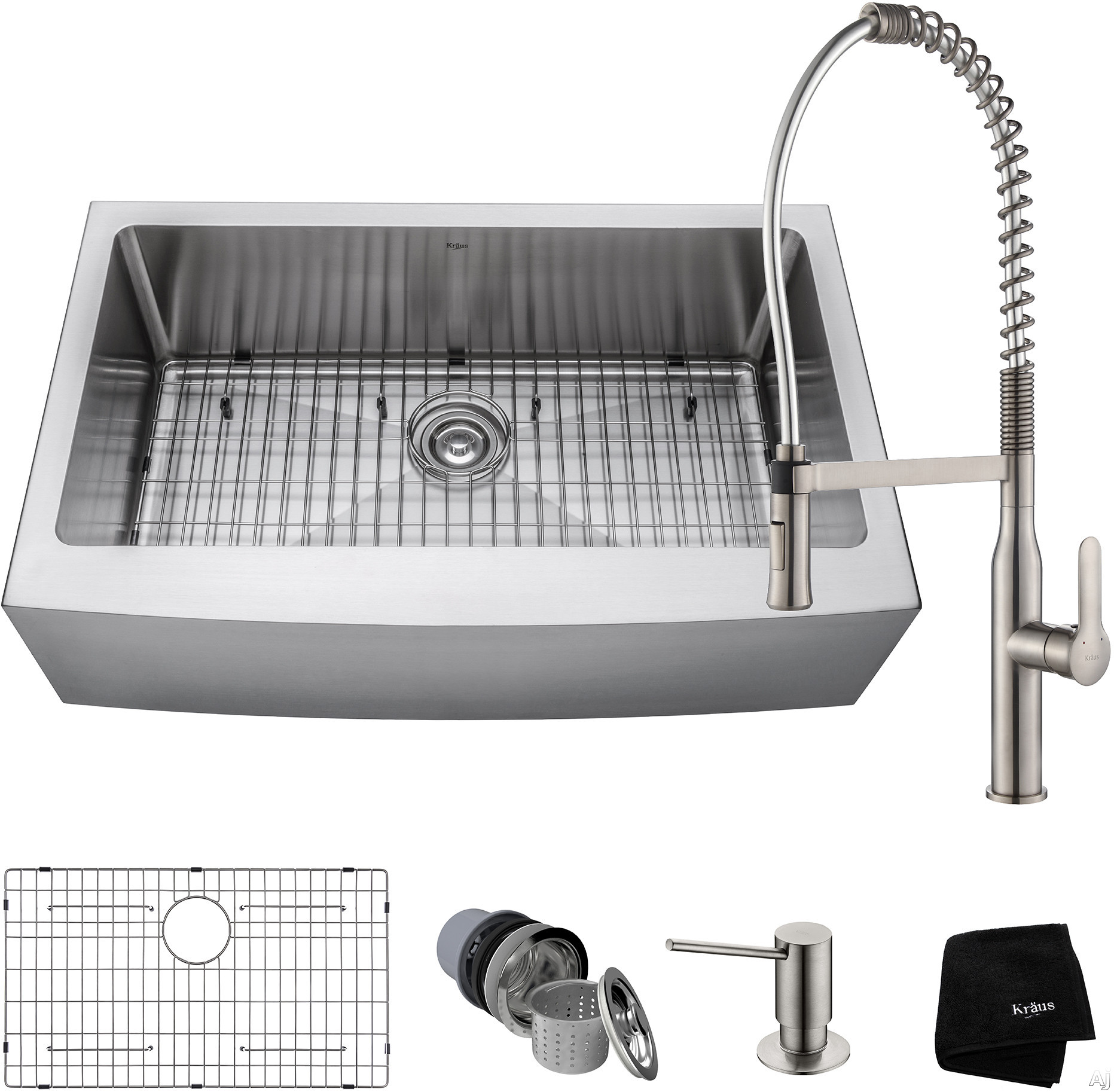 """Kraus Handmade Series KHF20033165041SS 33 Inch Apron Front Kitchen Sink and Commercial Faucet Combo with NoiseDefendâ""""¢, 16-Gauge Stainless Steel and Commercial Grade Finish: Stainless Steel"""