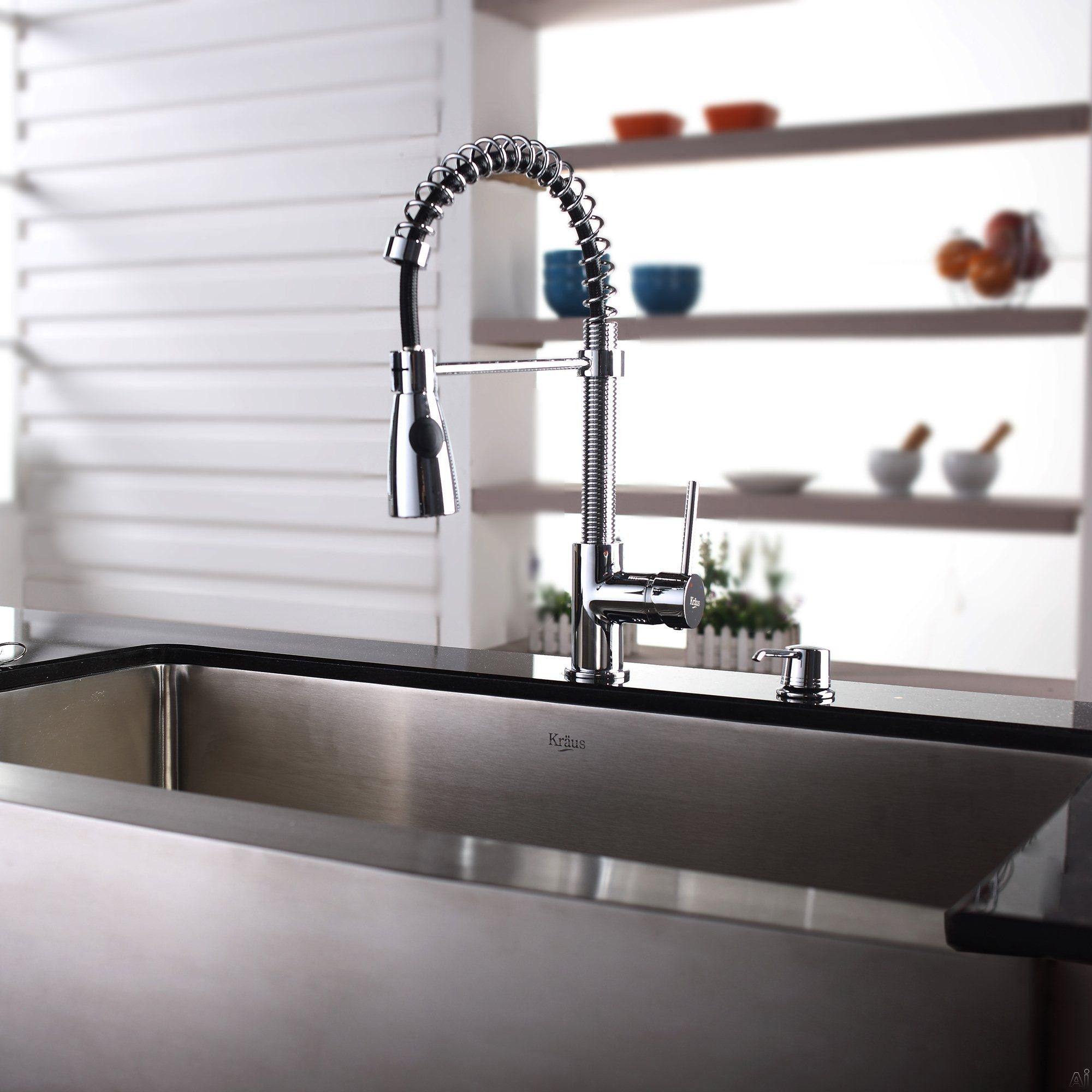 Inch Farmhouse Single Bowl Stainless Steel Sink with Pull-Out Faucet ...