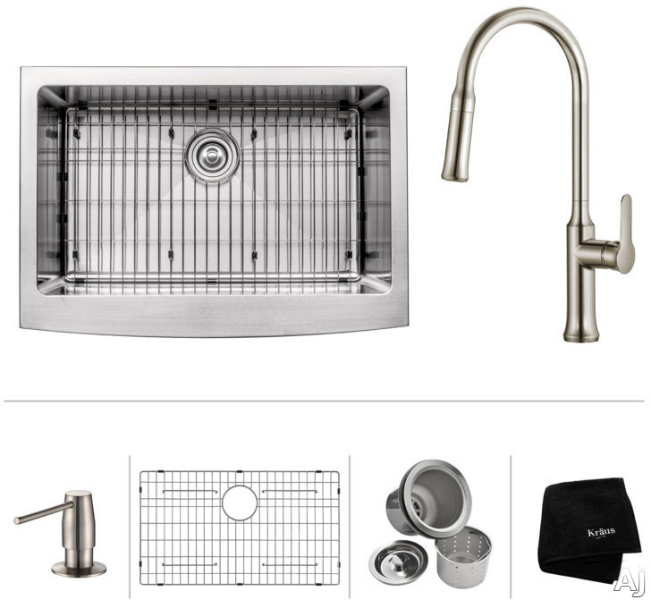 """Image of Kraus Standart PRO Series KHF20033163042SS 33 Inch Farmhouse Single Bowl Stainless Steel Kitchen Sink Set with 16 Gauge Stainless Steel, NoiseDefendâ""""¢ Soundproofing and Corrosion-Resistant Surface: Stainless Steel"""