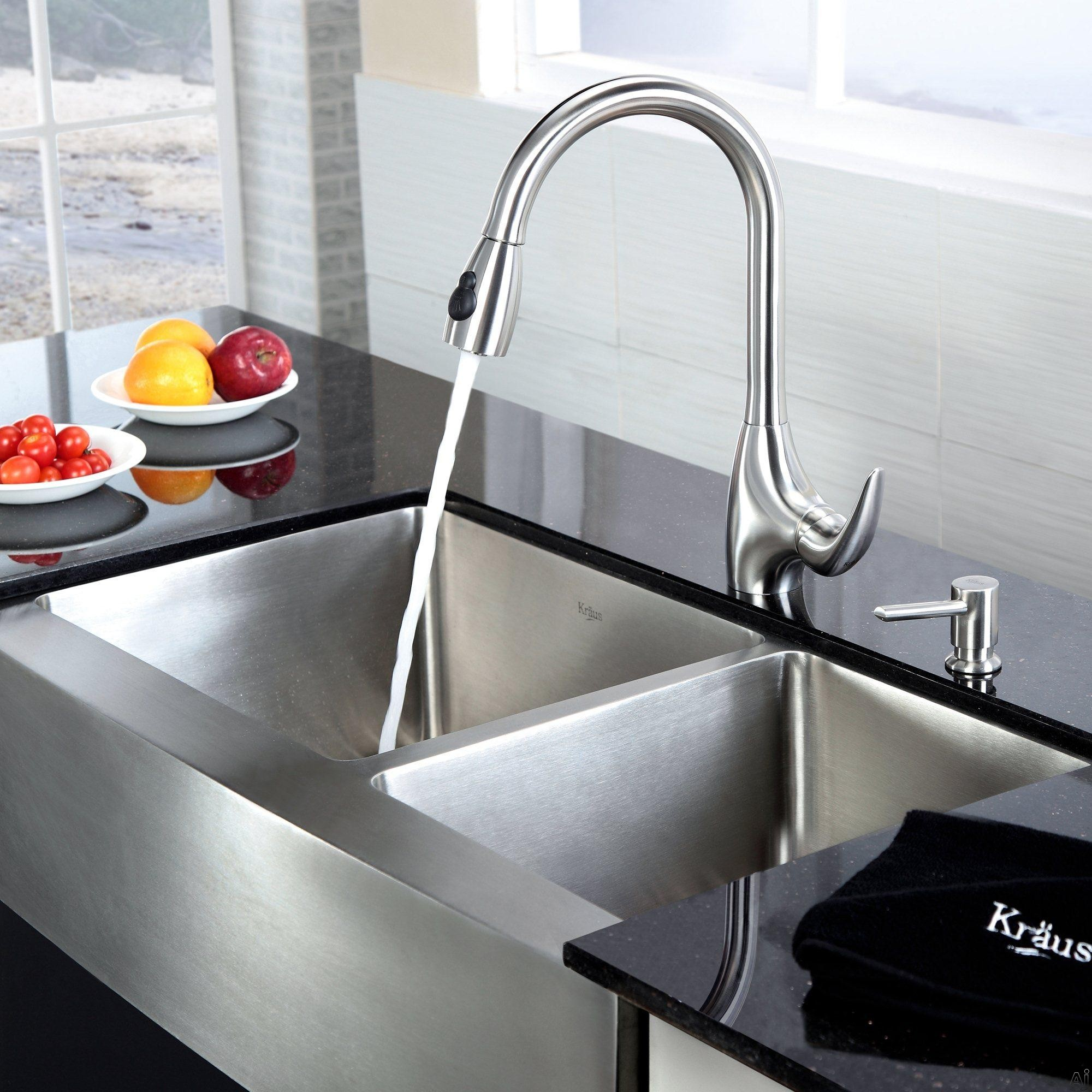 Kitchen Sink Double : KHF20336KPF2170SD20 36 Inch Farmhouse Double Bowl Stainless Steel Sink ...