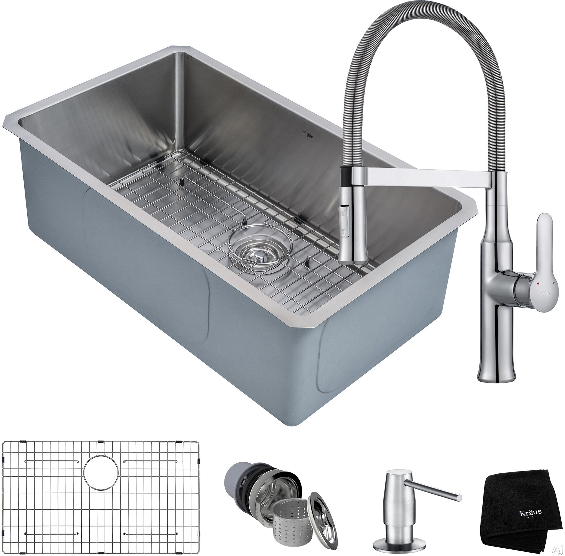 """Kraus Handmade Series KHU10030164042CH 30 Inch Kitchen Sink and Flex Commercial Faucet Combo with NoiseDefendâ""""¢, 16-Gauge Stainless Steel and Commercial Grade Finish"""