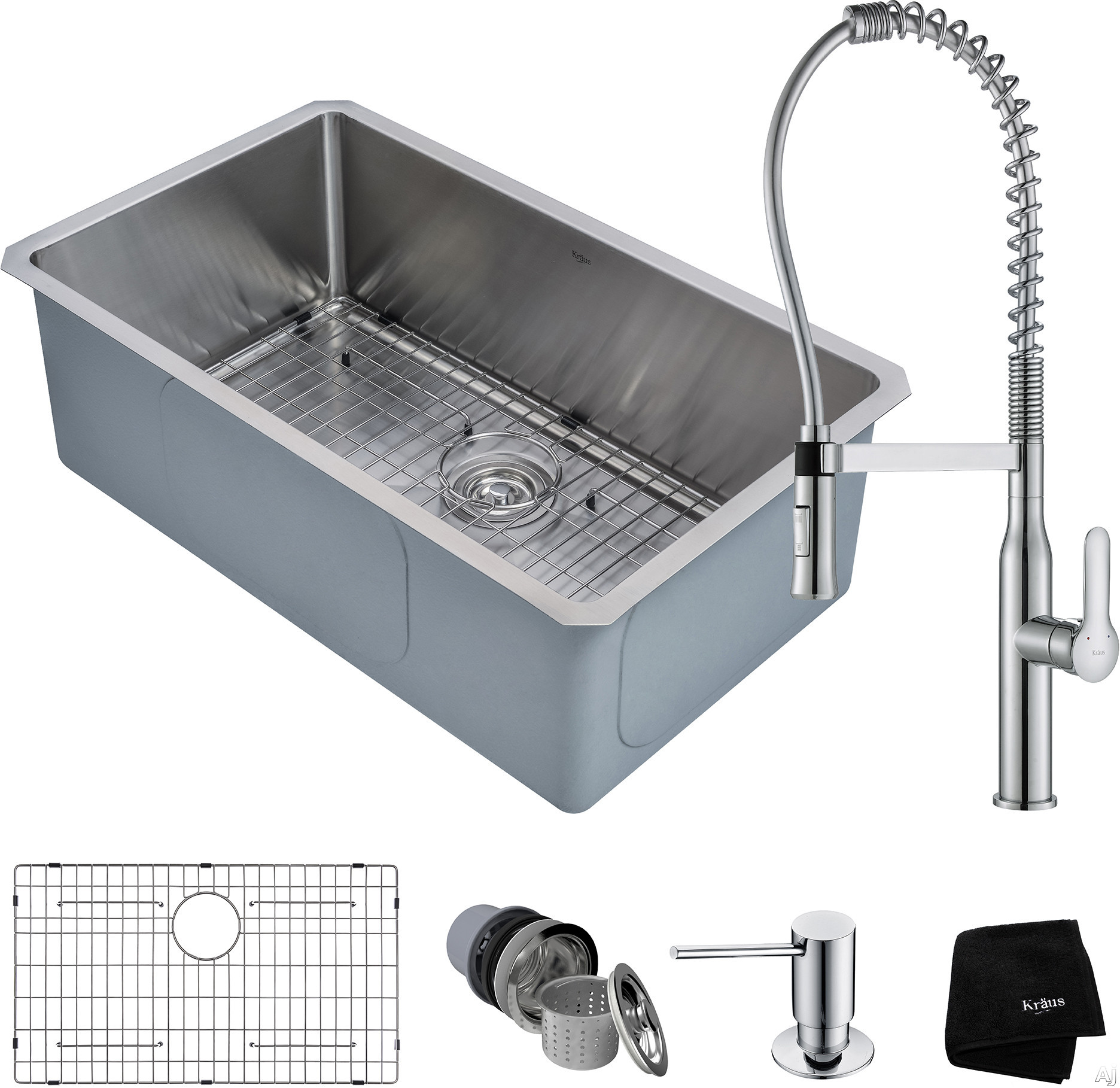 """Kraus Handmade Series KHU10030165041CH 30 Inch Undermount Kitchen Sink and Commercial Faucet Combo with NoiseDefendâ""""¢, 16-Gauge Stainless Steel and Commercial Grade Finish: Chrome"""