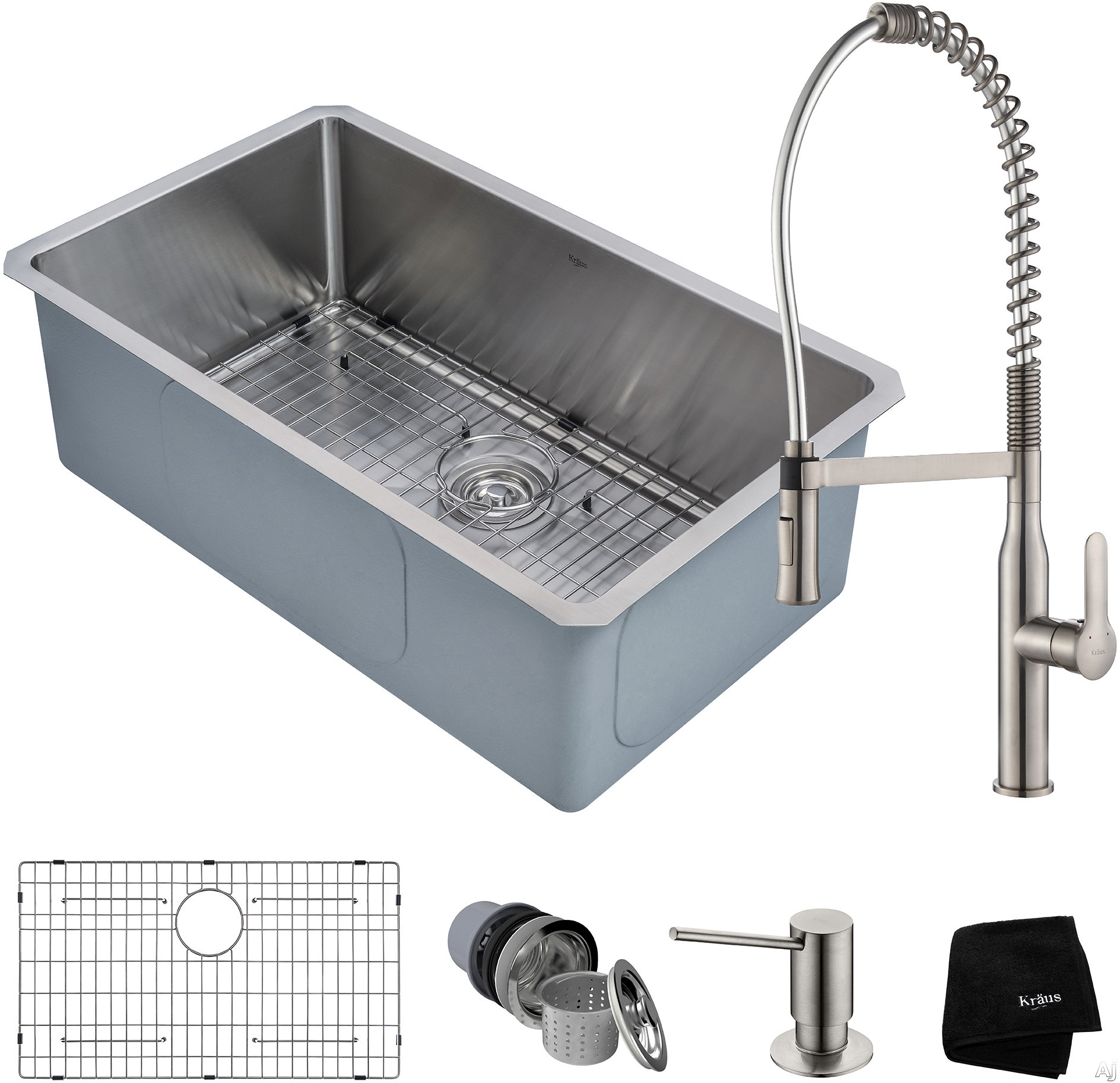 """Kraus Handmade Series KHU10030165041SS 30 Inch Undermount Kitchen Sink and Commercial Faucet Combo with NoiseDefendâ""""¢, 16-Gauge Stainless Steel and Commercial Grade Finish: Stainless Steel"""