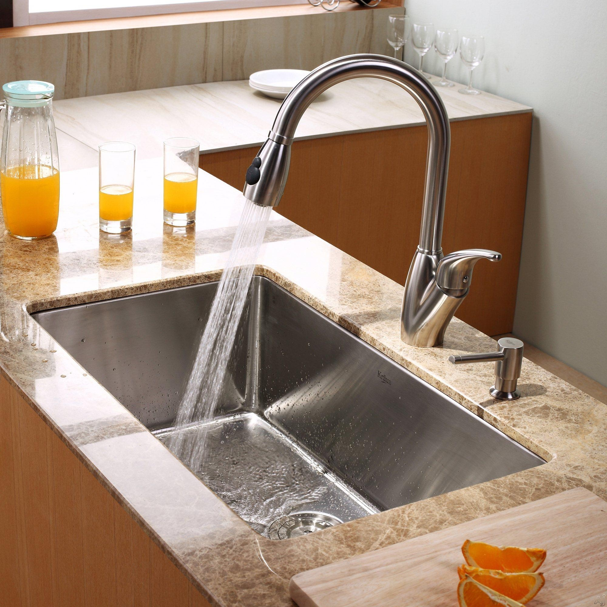 Kraus Khu10030kpf2120sd20 30 Undermount Single Bowl Stainless Steel Kitchen Sink With 16 Gauge