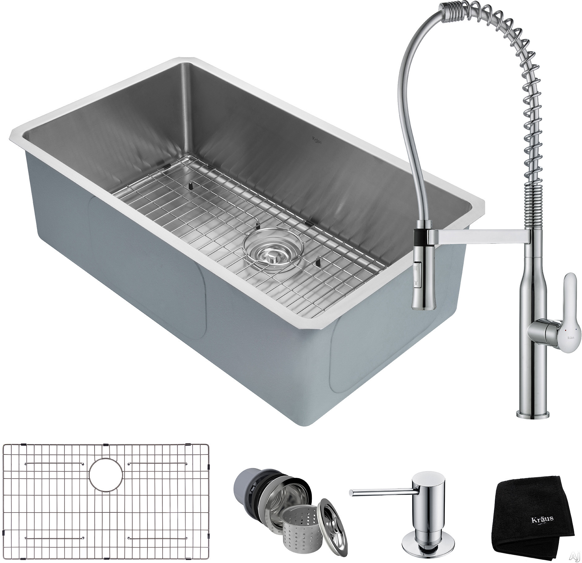 """Kraus Handmade Series KHU10032165041CH 32 Inch Undermount Kitchen Sink and Commercial Faucet Combo with NoiseDefendâ""""¢, 16-Gauge Stainless Steel and Commercial Grade Finish: Chrome"""
