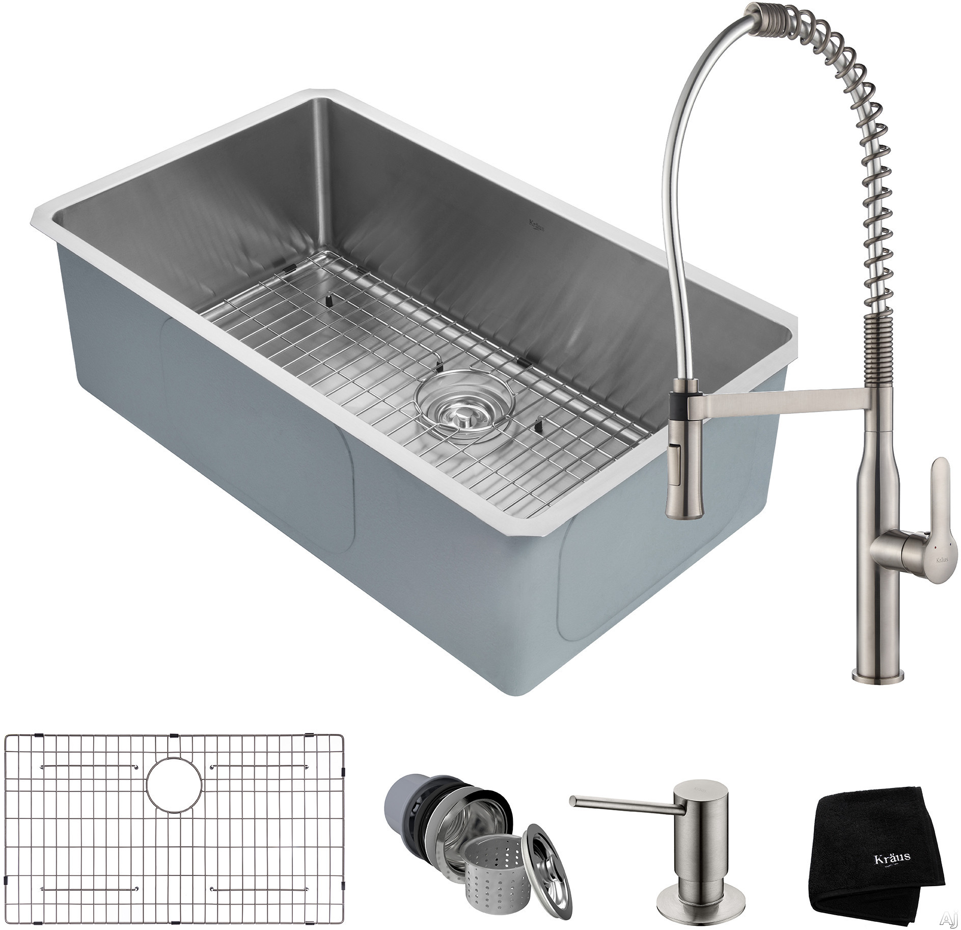 """Kraus Handmade Series KHU10032165041SS 32 Inch Undermount Kitchen Sink and Commercial Faucet Combo with NoiseDefendâ""""¢, 16-Gauge Stainless Steel and Commercial Grade Finish: Stainless Steel"""