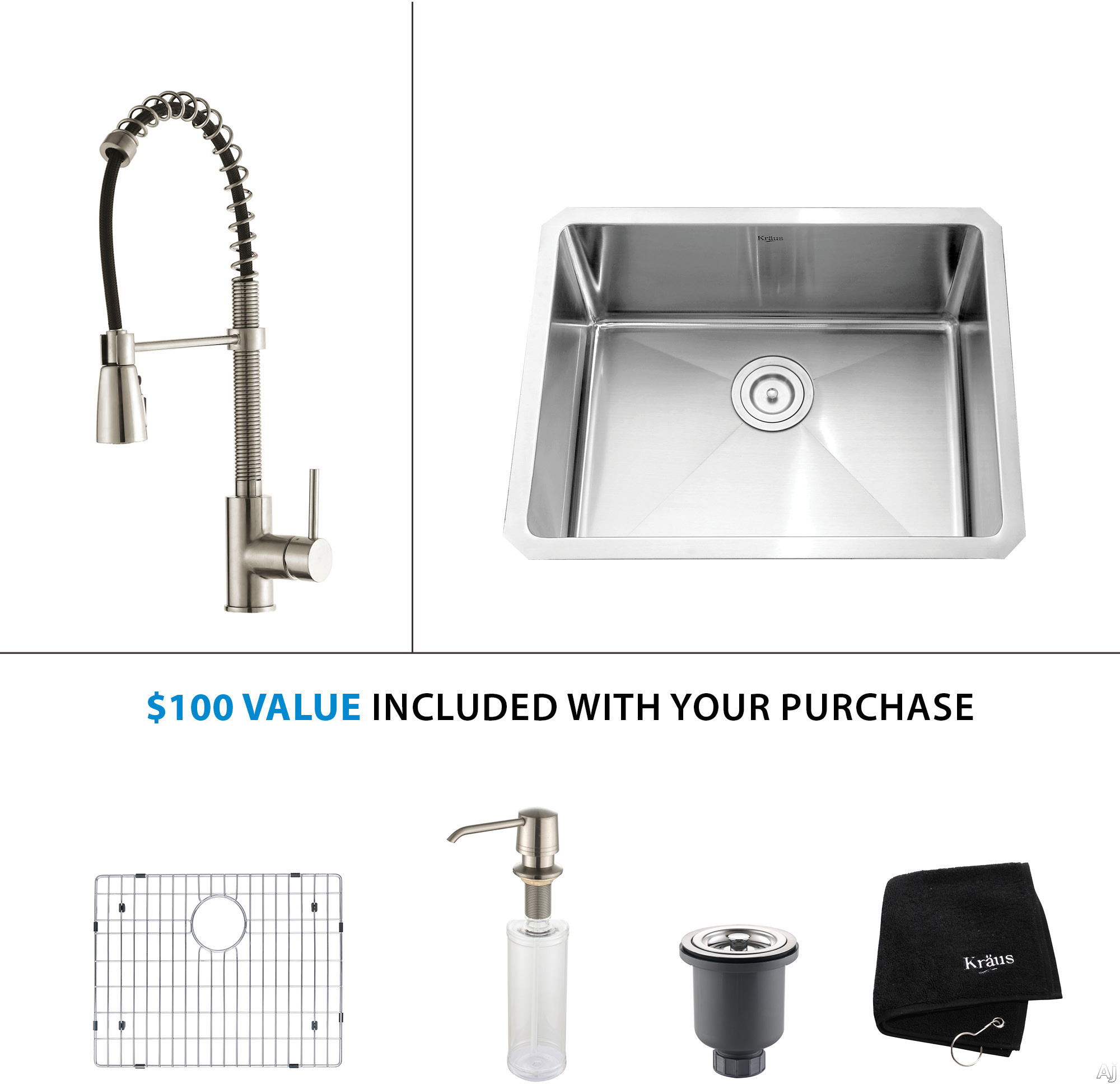 Image of Kraus Kitchen Combo Series KHU10123KPF1612KSD30SS 23 Inch Undermount Single Bowl Stainless Steel Sink with Pull-Out Faucet, Pop-up Drain, 10 Inch Bowl Depth, 16-Gauge Stainless Steel, Satin Finish and ADA Compliant: Stainless Steel Faucet
