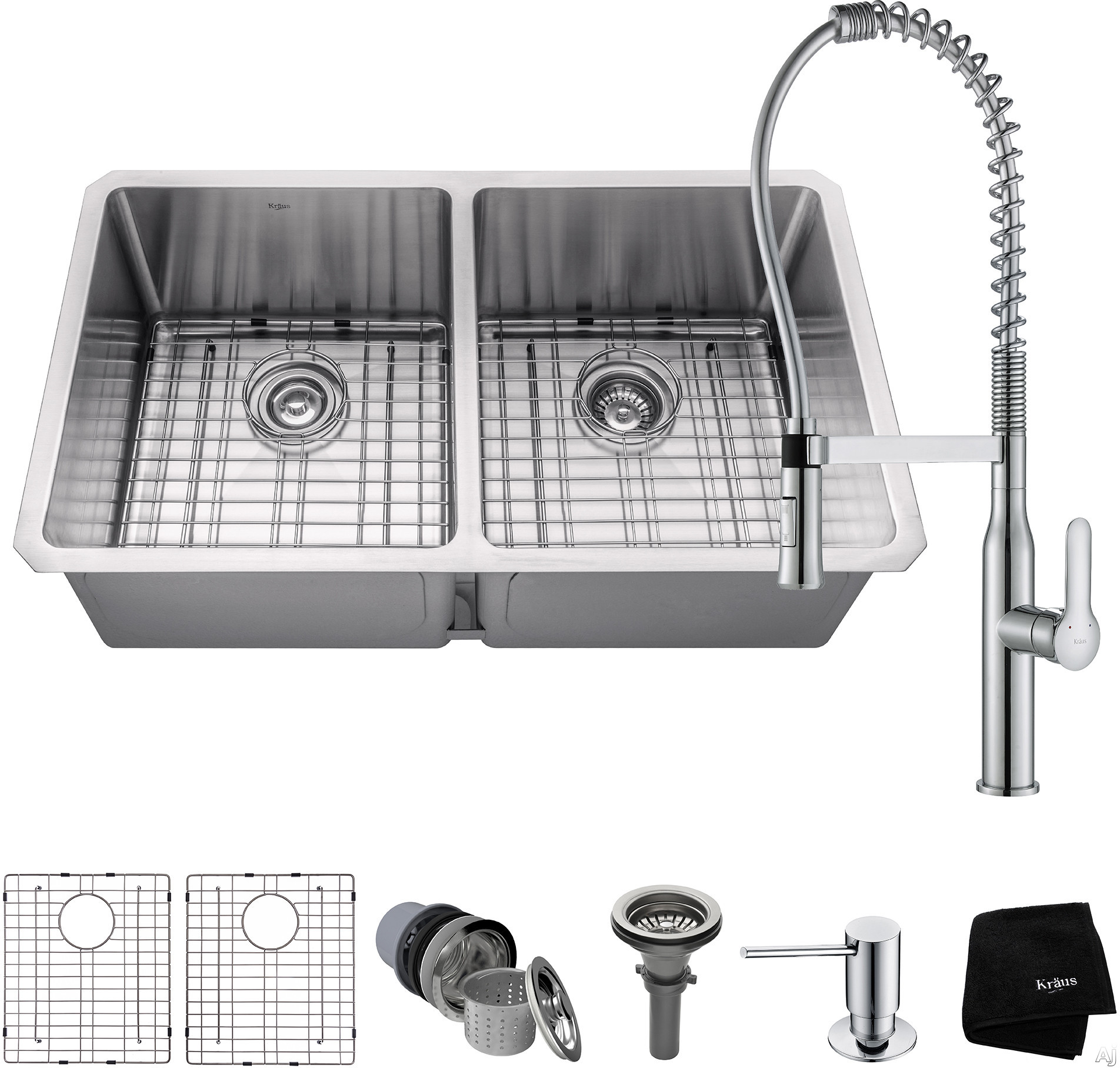 """Kraus Handmade Series KHU10233165041CH 33 Inch Double Bowl Kitchen Sink and Commercial Faucet Combo with NoiseDefendâ""""¢, 16-Gauge Stainless Steel and Commercial Grade Finish: Chrome"""