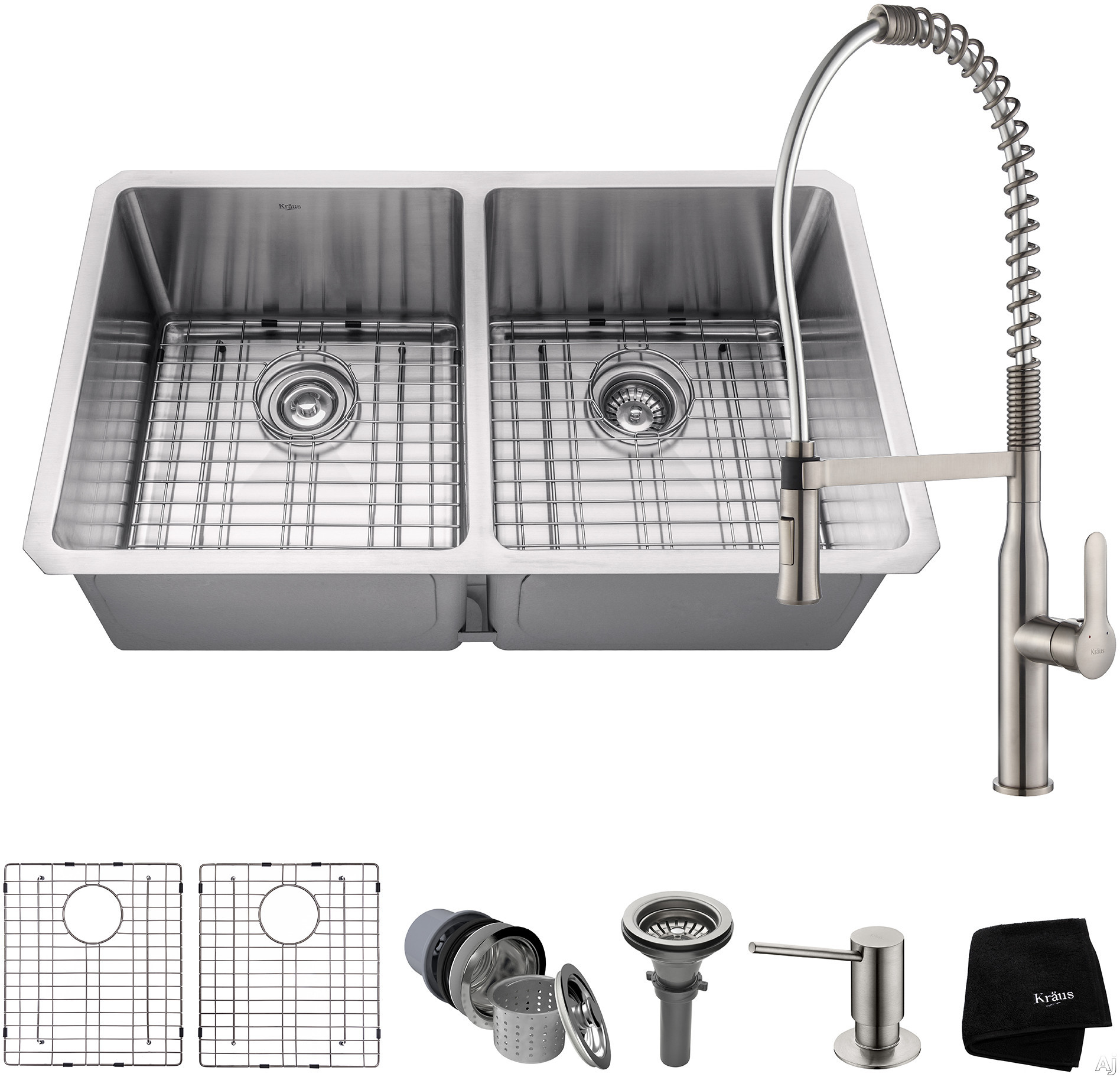 """Kraus Handmade Series KHU10233165041SS 33 Inch Double Bowl Kitchen Sink and Commercial Faucet Combo with NoiseDefendâ""""¢, 16-Gauge Stainless Steel and Commercial Grade Finish: Stainless Steel"""