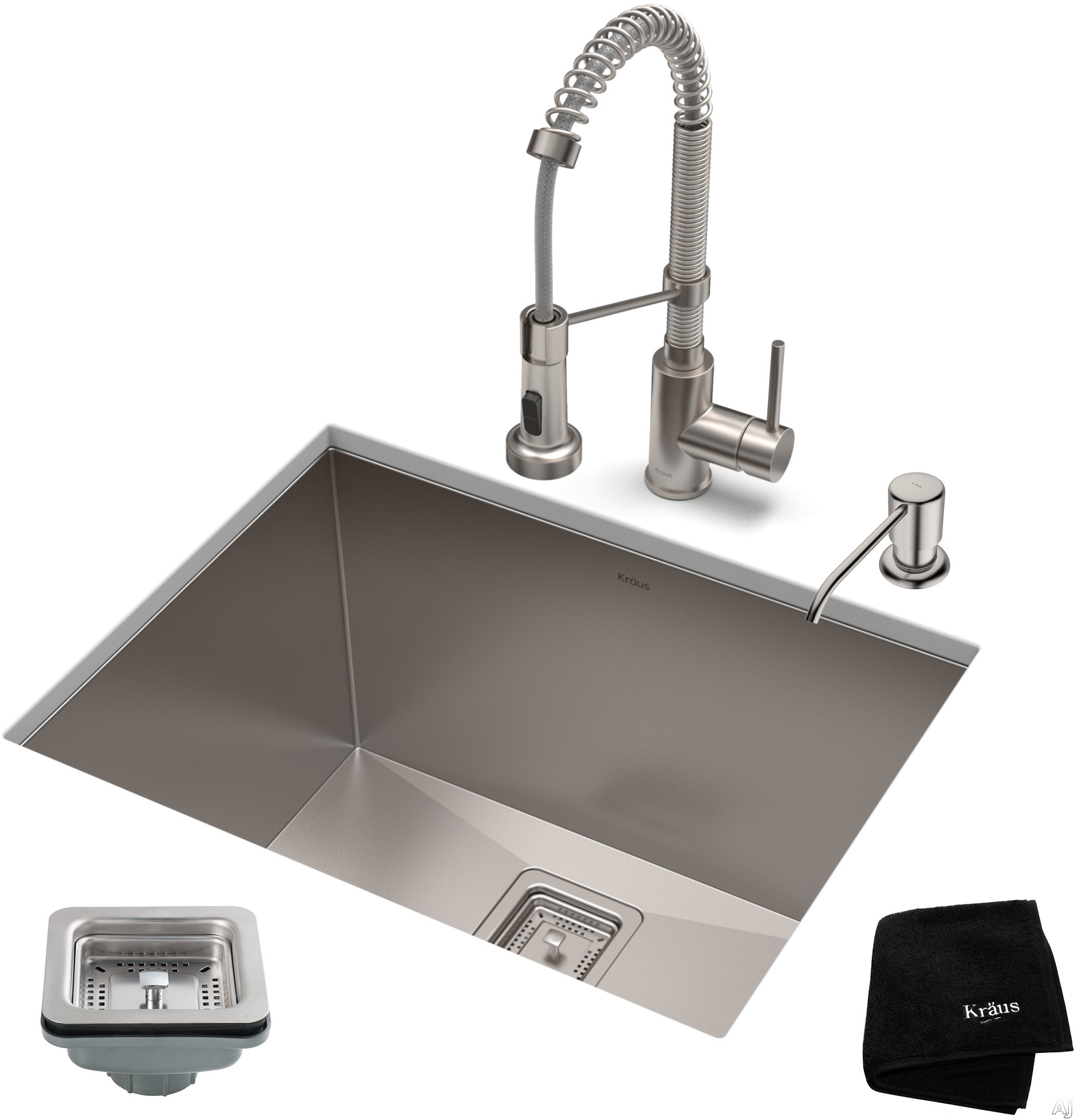 """Image of Kraus Pax Series KHU24L161053SS 24 Inch Stainless Steel Utility Sink and Commercial Pull-Down Faucet with NoiseDefendâ""""¢ Soundproofing, 18-Gauge Stainless Steel and Commercial Grade Finish: Stainless Steel"""