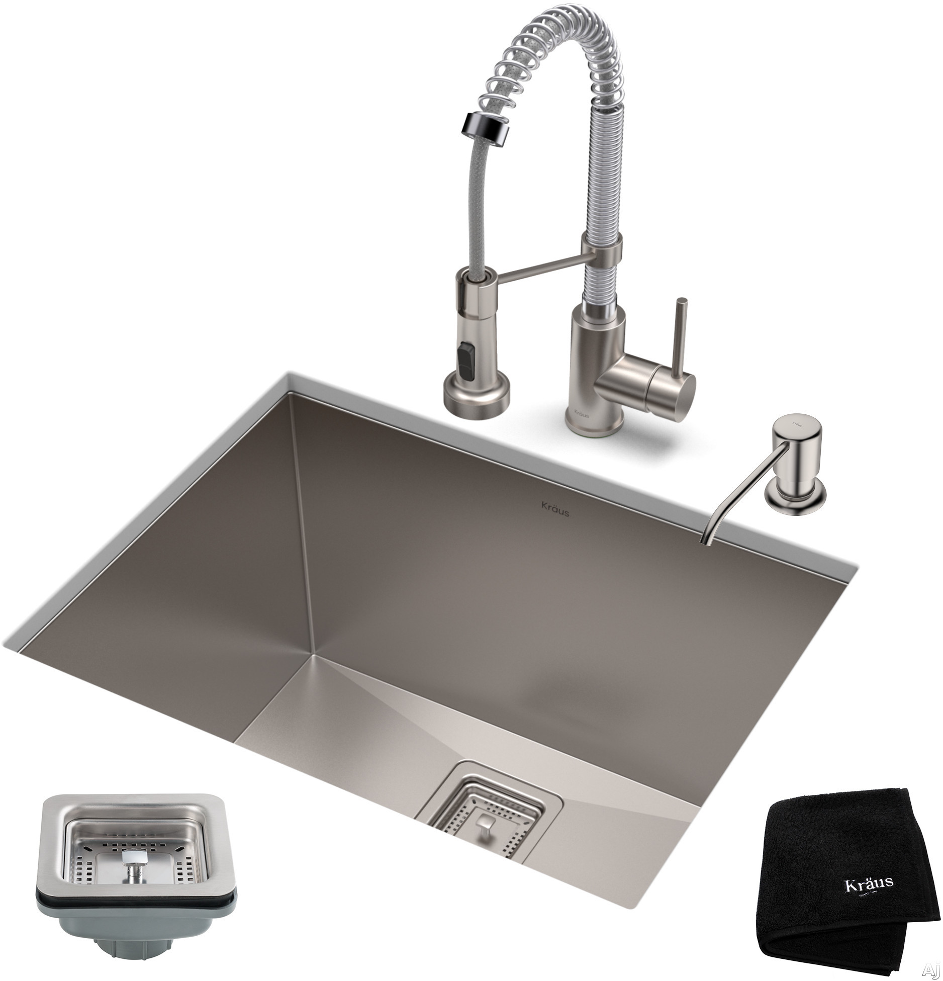 """Image of Kraus Pax Series KHU24L161053SSCH 24 Inch Stainless Steel Utility Sink and Commercial Pull-Down Faucet with NoiseDefendâ""""¢ Soundproofing, 18-Gauge Stainless Steel and Commercial Grade Finish: Stainless Steel Chrome"""