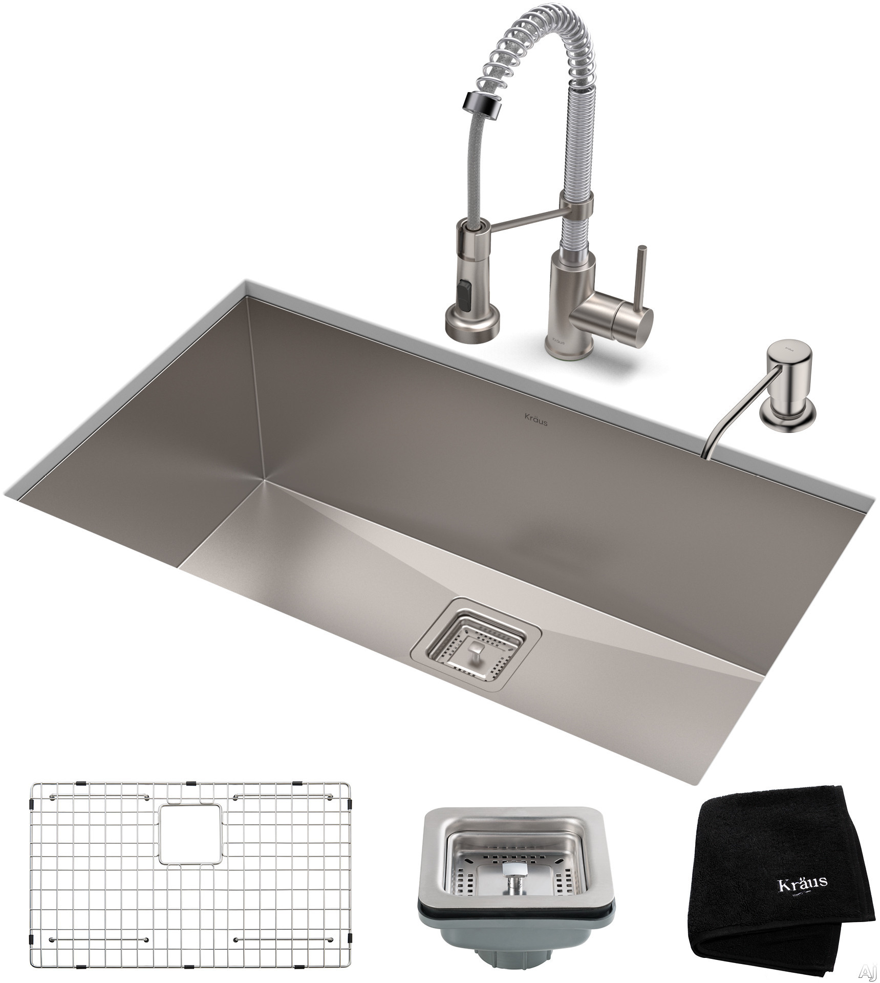 """Image of Kraus Pax Series KHU32161053SSCH 31 Inch Stainless Steel Kitchen Sink and Commercial Pull-Down Faucet with NoiseDefendâ""""¢ Soundproofing, 16-Gauge Stainless Steel and Commercial Grade Finish: Stainless Steel Chrome"""