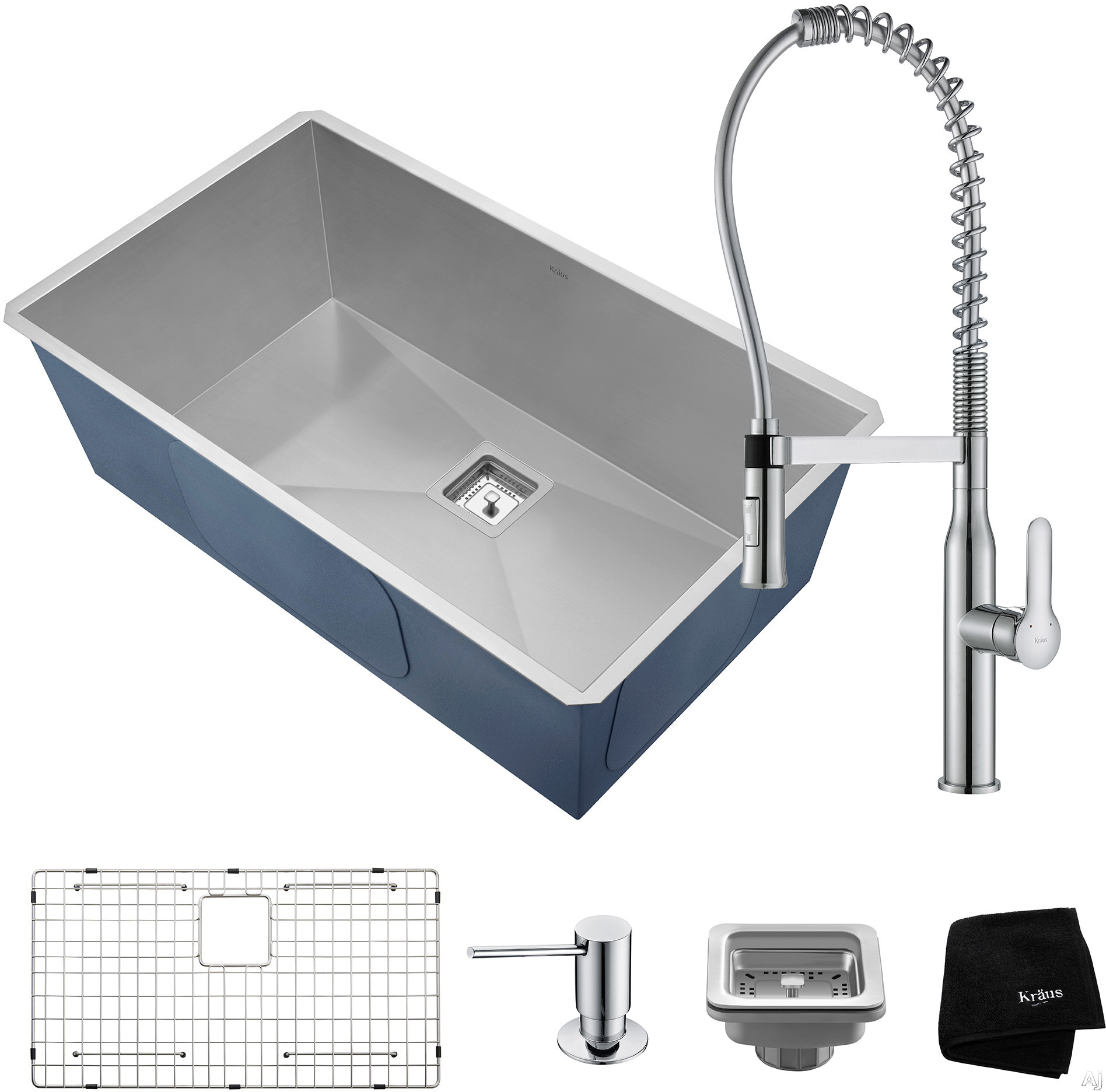 """Kraus Pax Series KHU32165041CH 31 Inch Undermount Kitchen Sink and Commercial Faucet Combo with NoiseDefendâ""""¢, 16-Gauge Stainless Steel and Commercial Grade Finish: Chrome"""