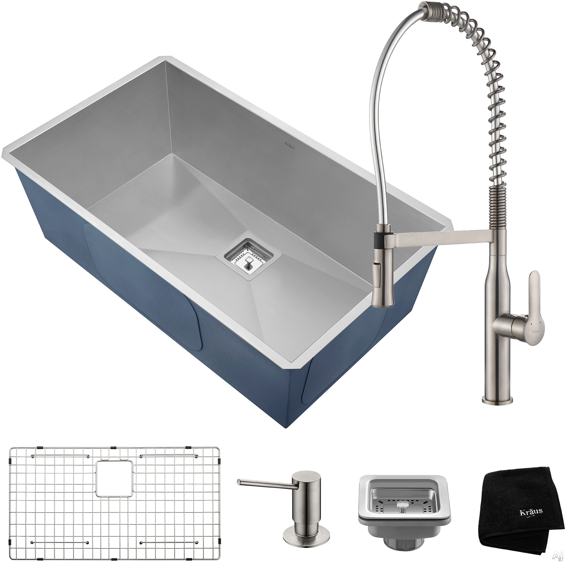"""Kraus Pax Series KHU32165041SS 31 Inch Undermount Kitchen Sink and Commercial Faucet Combo with NoiseDefendâ""""¢, 16-Gauge Stainless Steel and Commercial Grade Finish: Stainless Steel"""