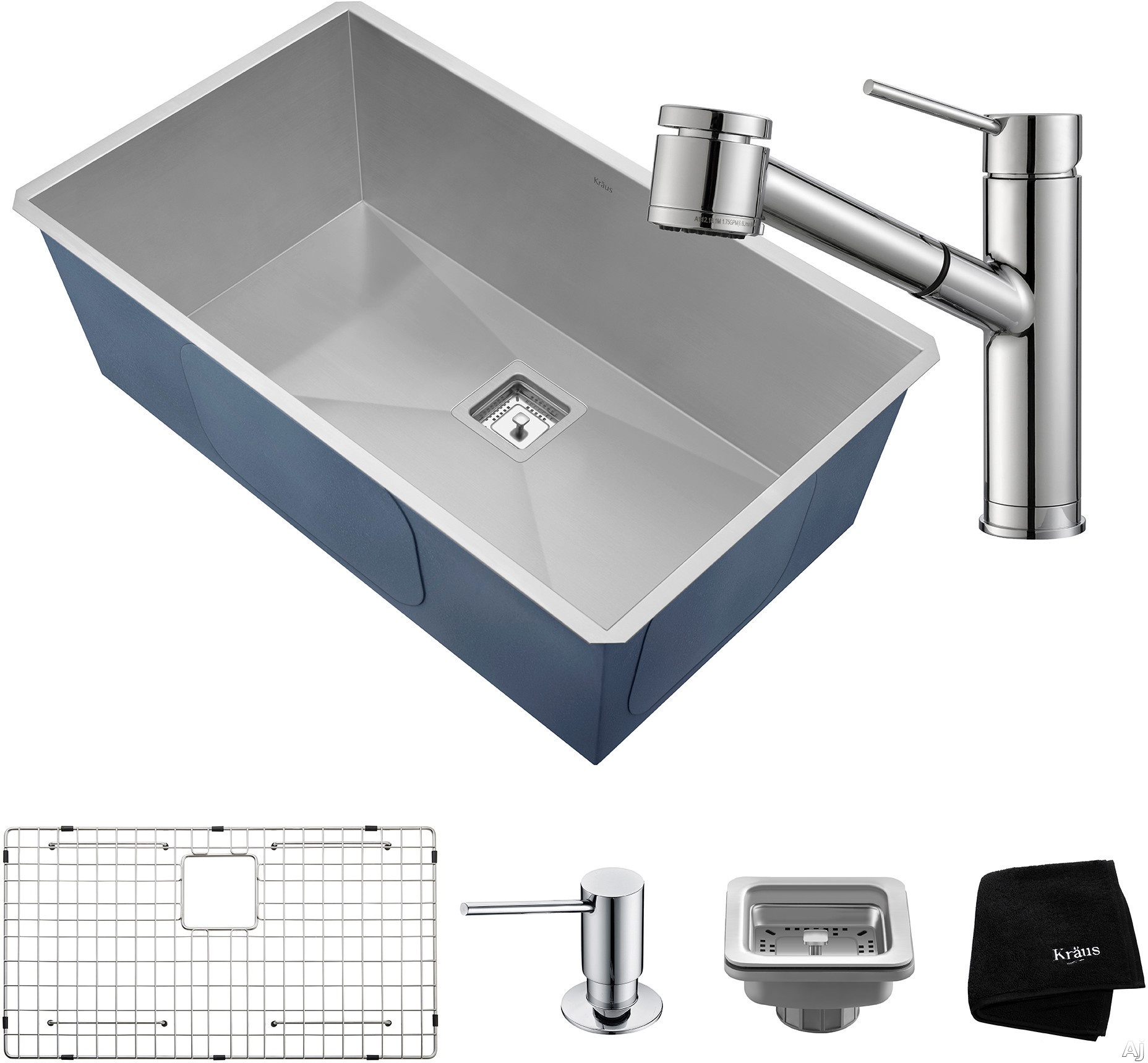 "Kraus Pax Series KHU32261041CH 31 Inch Undermount Kitchen Sink and Faucet Combo with NoiseDefendâ""¢, 16-Gauge Stainless Steel and Commercial Grade Finish: Chrome"