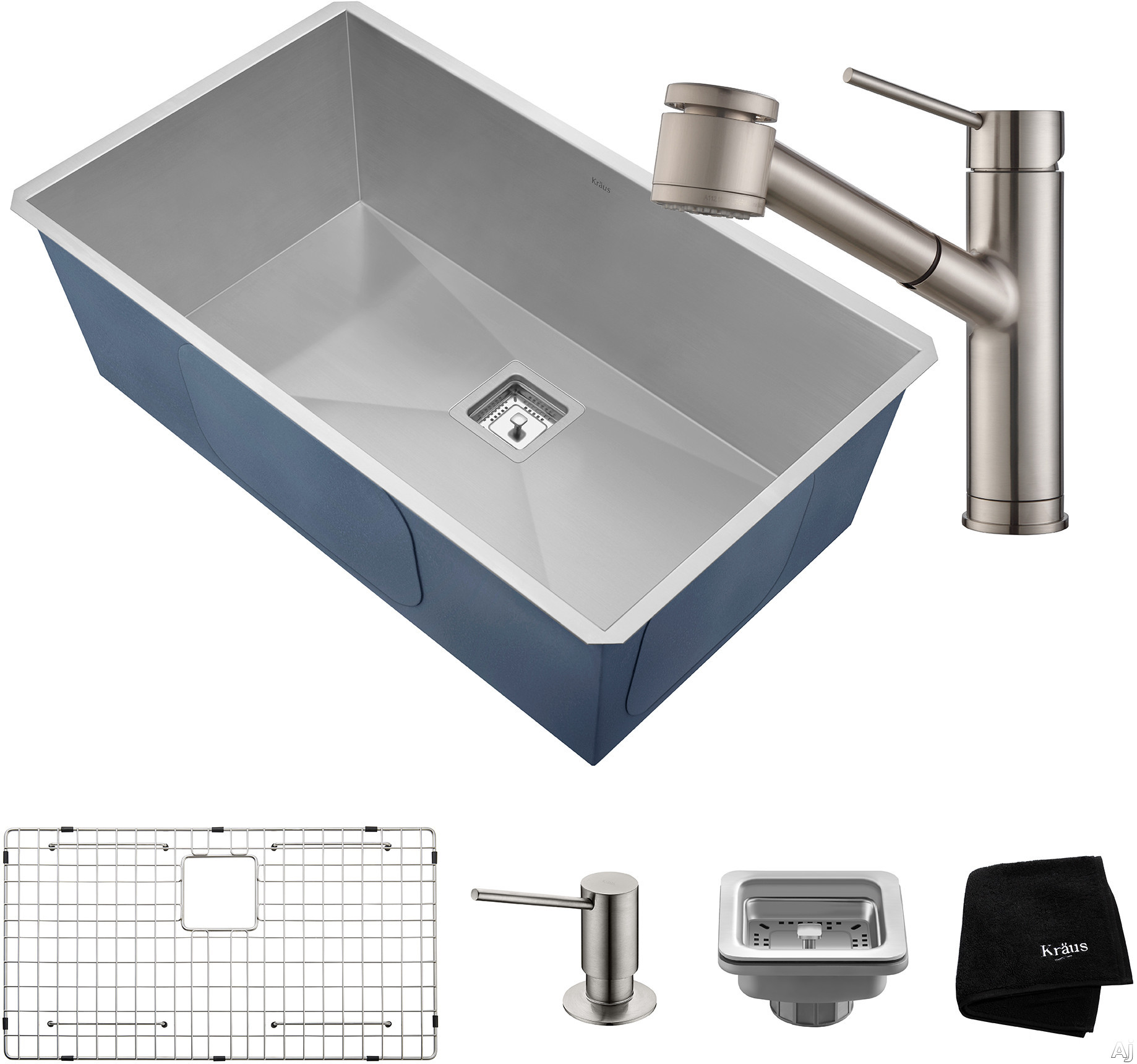 "Image of Kraus Pax Series KHU32261041SS 31 Inch Undermount Kitchen Sink and Faucet Combo with NoiseDefendâ""¢, 16-Gauge Stainless Steel and Commercial Grade Finish: Stainless Steel"