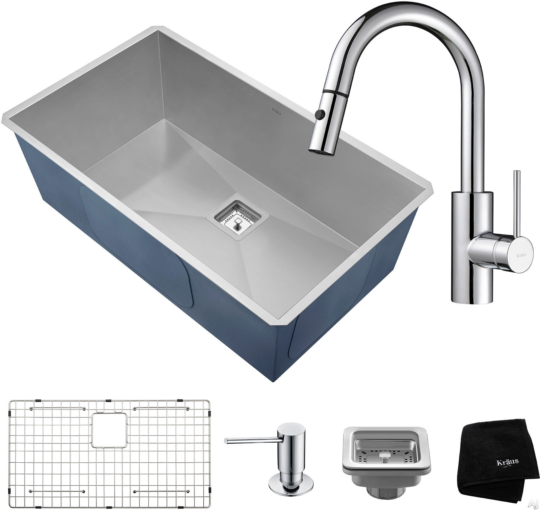 "Kraus Pax Series KHU32262041CH 31 Inch Undermount Kitchen Sink and Faucet Combo with NoiseDefendâ""¢, 16-Gauge Stainless Steel and Commercial Grade Finish: Chrome"