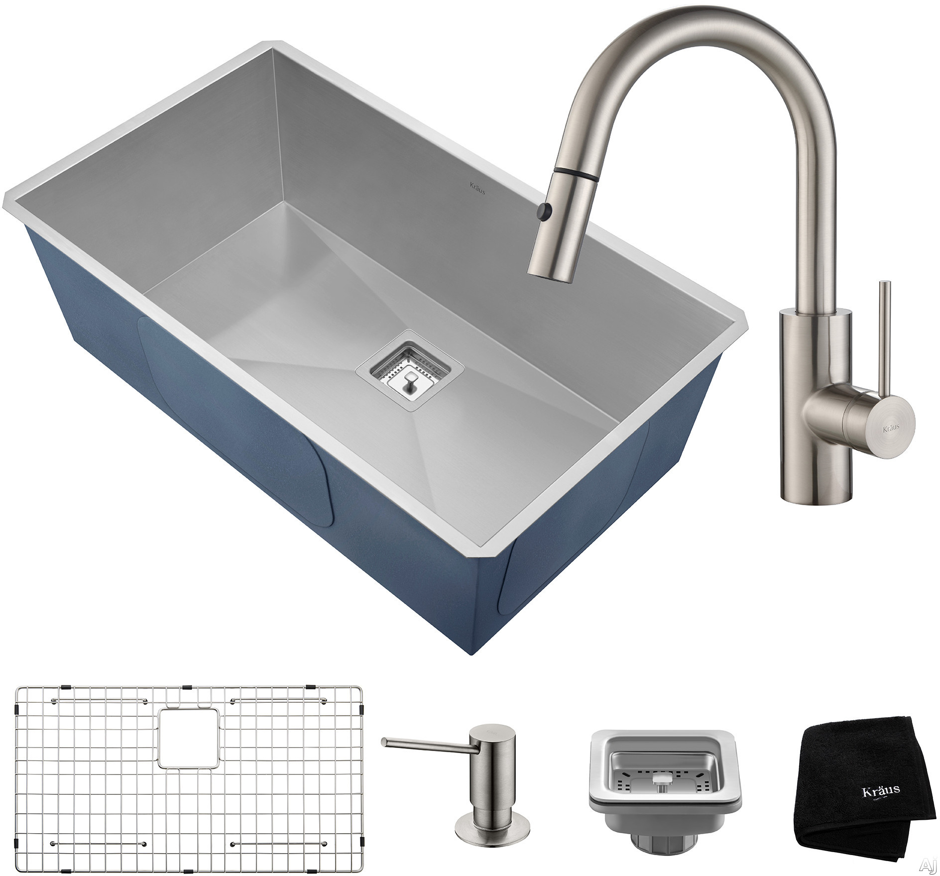 "Image of Kraus Pax Series KHU32262041SS 31 Inch Undermount Kitchen Sink and Faucet Combo with NoiseDefendâ""¢, 16-Gauge Stainless Steel and Commercial Grade Finish: Stainless Steel"