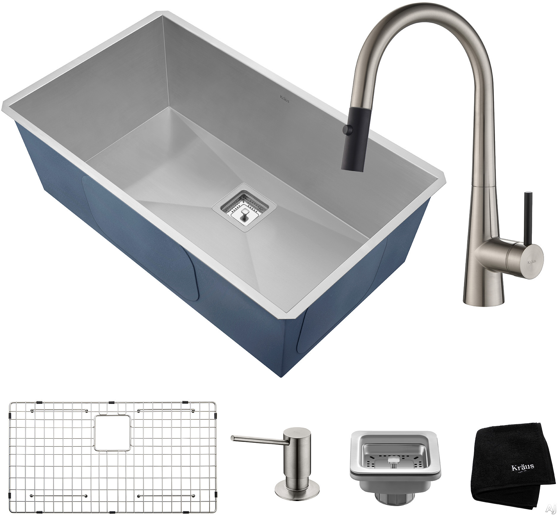 "Image of Kraus Pax Series KHU32272041SS 31 Inch Undermount Kitchen Sink and Faucet Combo with NoiseDefendâ""¢, 16-Gauge Stainless Steel and Commercial Grade Finish: Stainless Steel"
