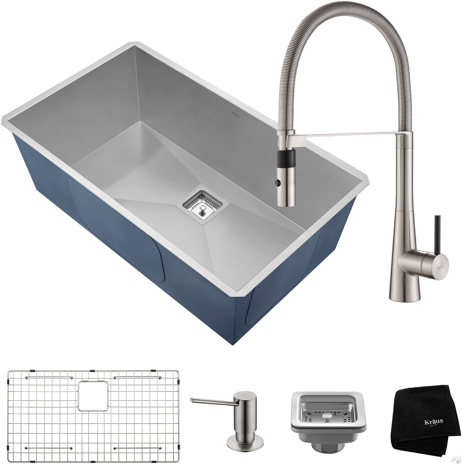 """Kraus Pax Series KHU32273041SS 31 Inch Kitchen Sink and Commercial Faucet Combo with NoiseDefendâ""""¢, 16-Gauge Stainless Steel and Commercial Grade Finish: Stainless Steel"""