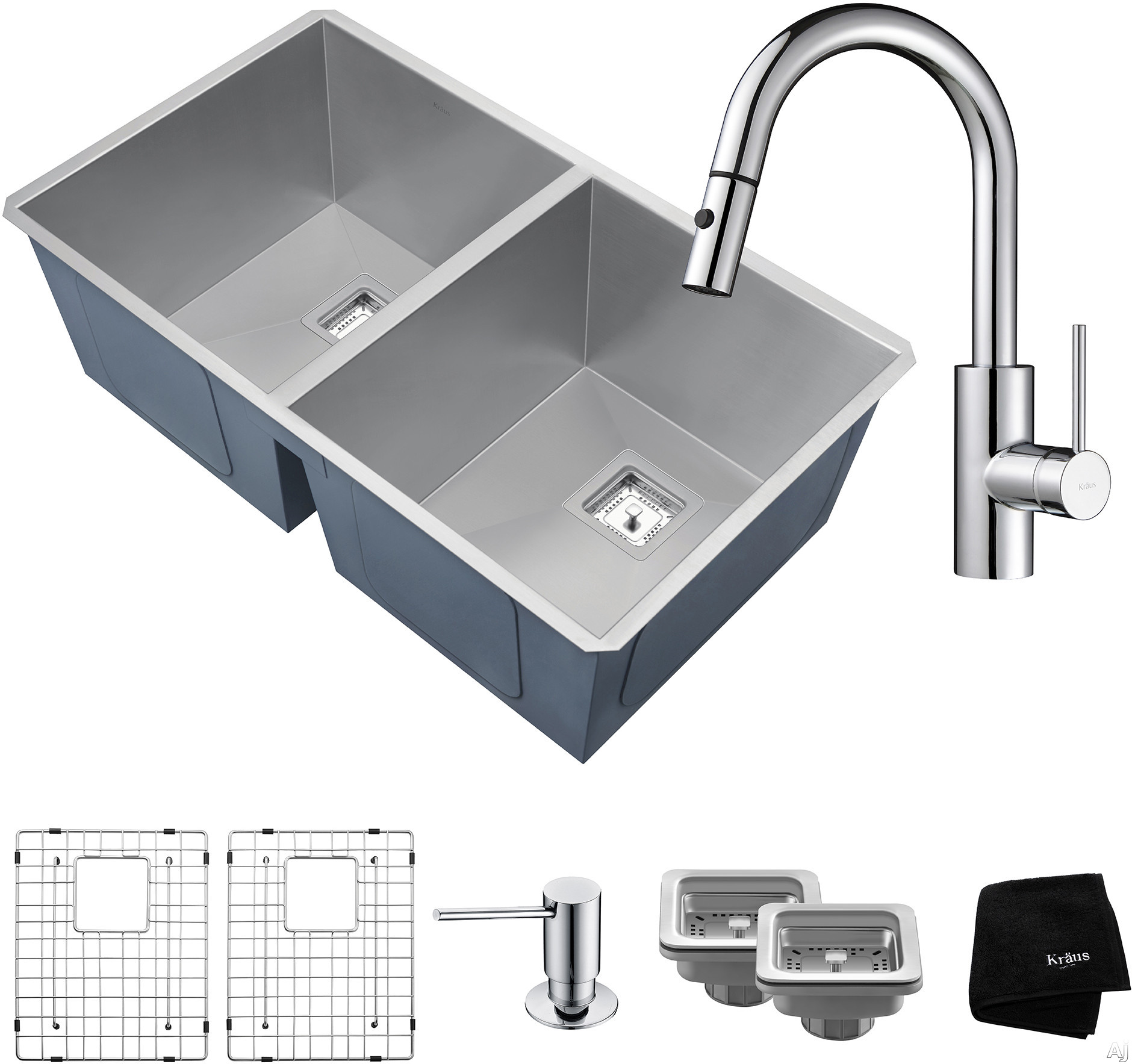 "Kraus Pax Series KHU322262041CH 31 Inch Double Bowl Kitchen Sink and Faucet Combo with NoiseDefendâ""¢, 16-Gauge Stainless Steel and Commercial Grade Finish: Chrome"