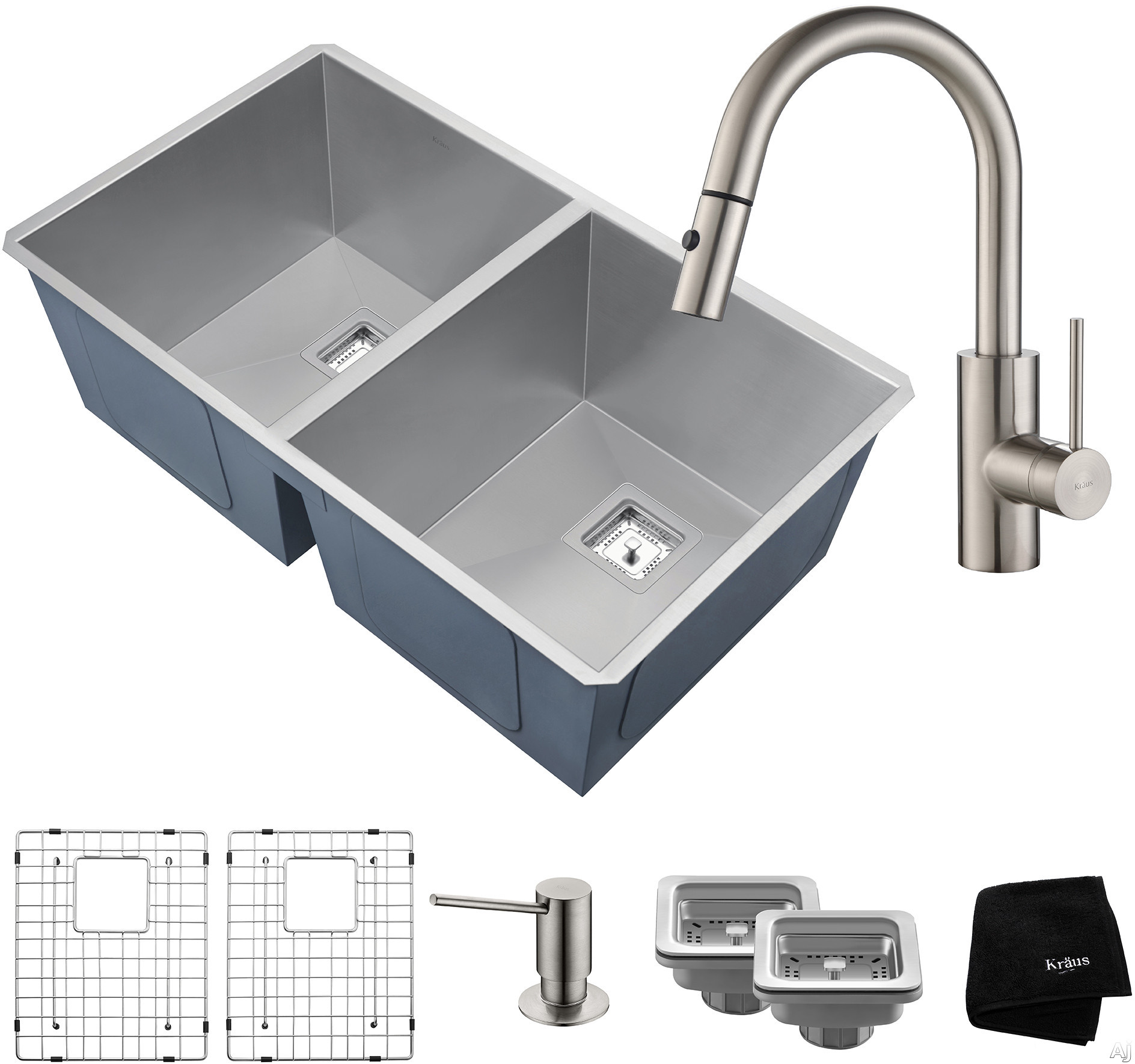 "Image of Kraus Pax Series KHU322262041SS 31 Inch Double Bowl Kitchen Sink and Faucet Combo with NoiseDefendâ""¢, 16-Gauge Stainless Steel and Commercial Grade Finish: Stainless Steel"