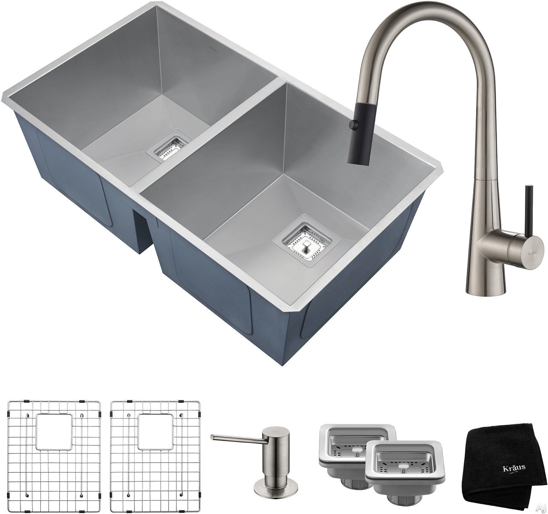 "Image of Kraus Pax Series KHU322272041SS 31 Inch Double Bowl Kitchen Sink and Faucet Combo with NoiseDefendâ""¢, 16-Gauge Stainless Steel and Commercial Grade Finish: Stainless Steel"